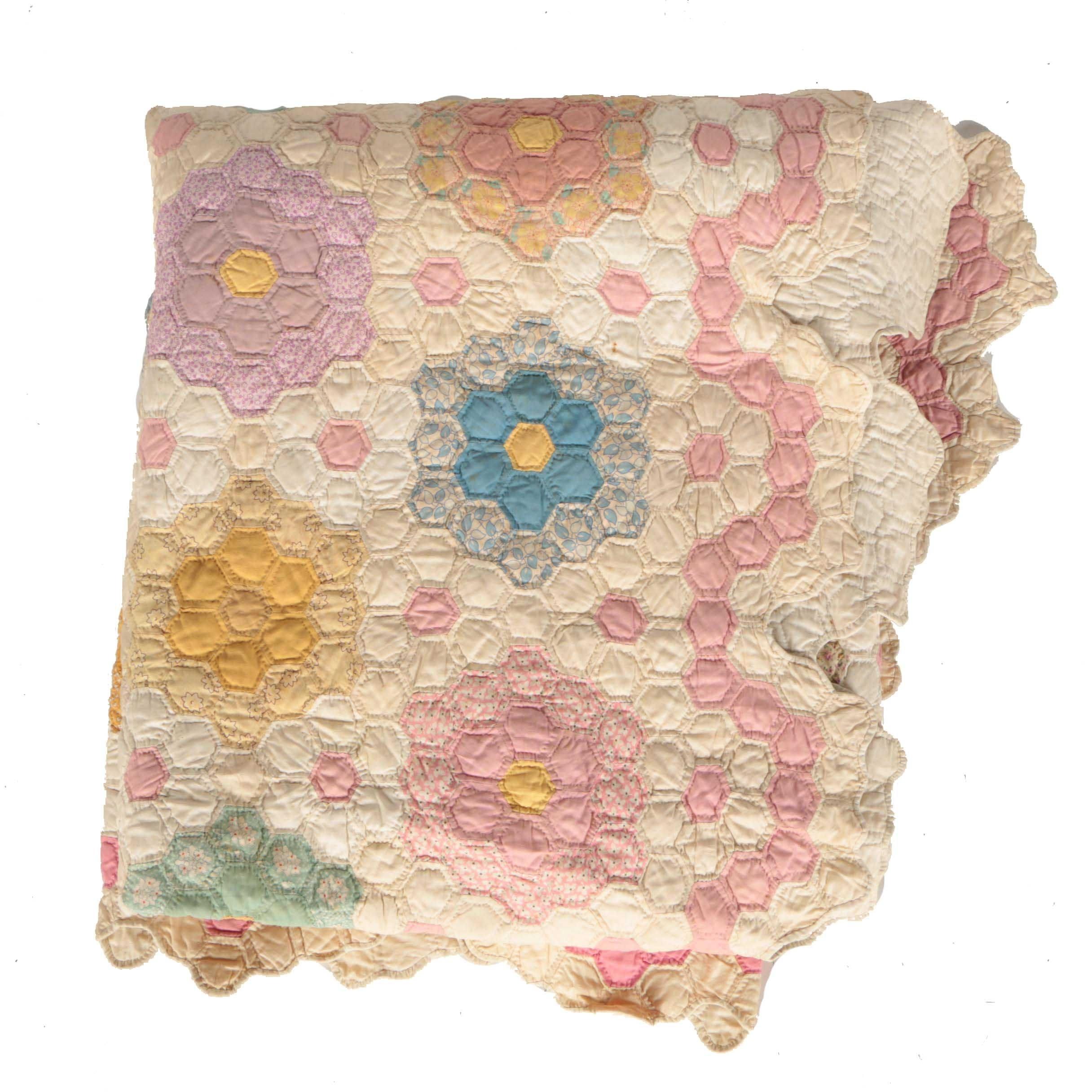 """1937  """"Grandmother's Flower Garden"""" Handmade Quilt"""