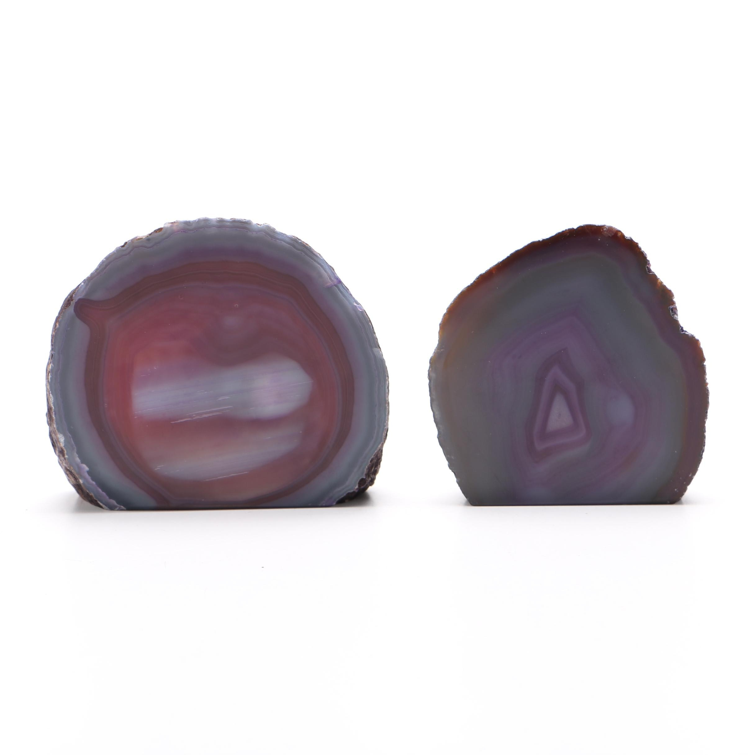 Pair of Dyed Agate Bookends