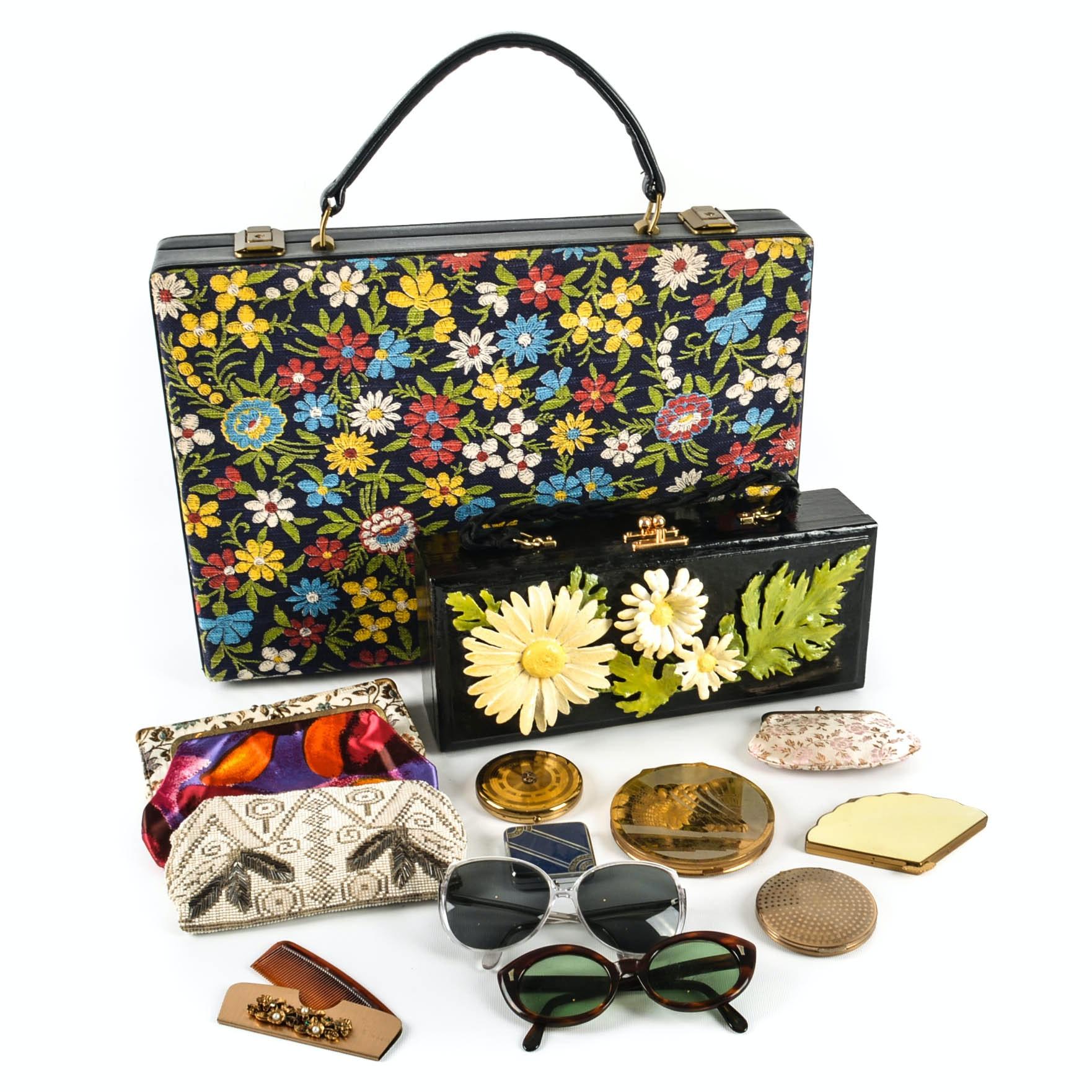 Vintage Attache Case, Box Purse, Powder Compacts, Change Purses and Sunglasses