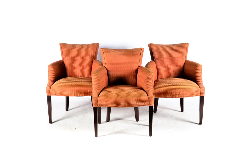 Vintage Orange Upholstered Armchairs