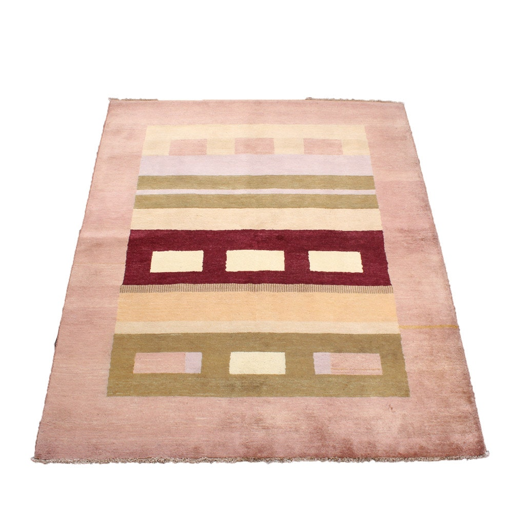 Hand-Knotted Pakistani Gabbeh Area Rug