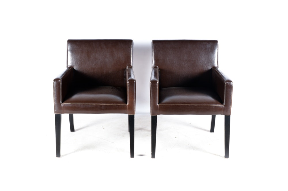 Euromarket Designs Faux Leather Armchairs