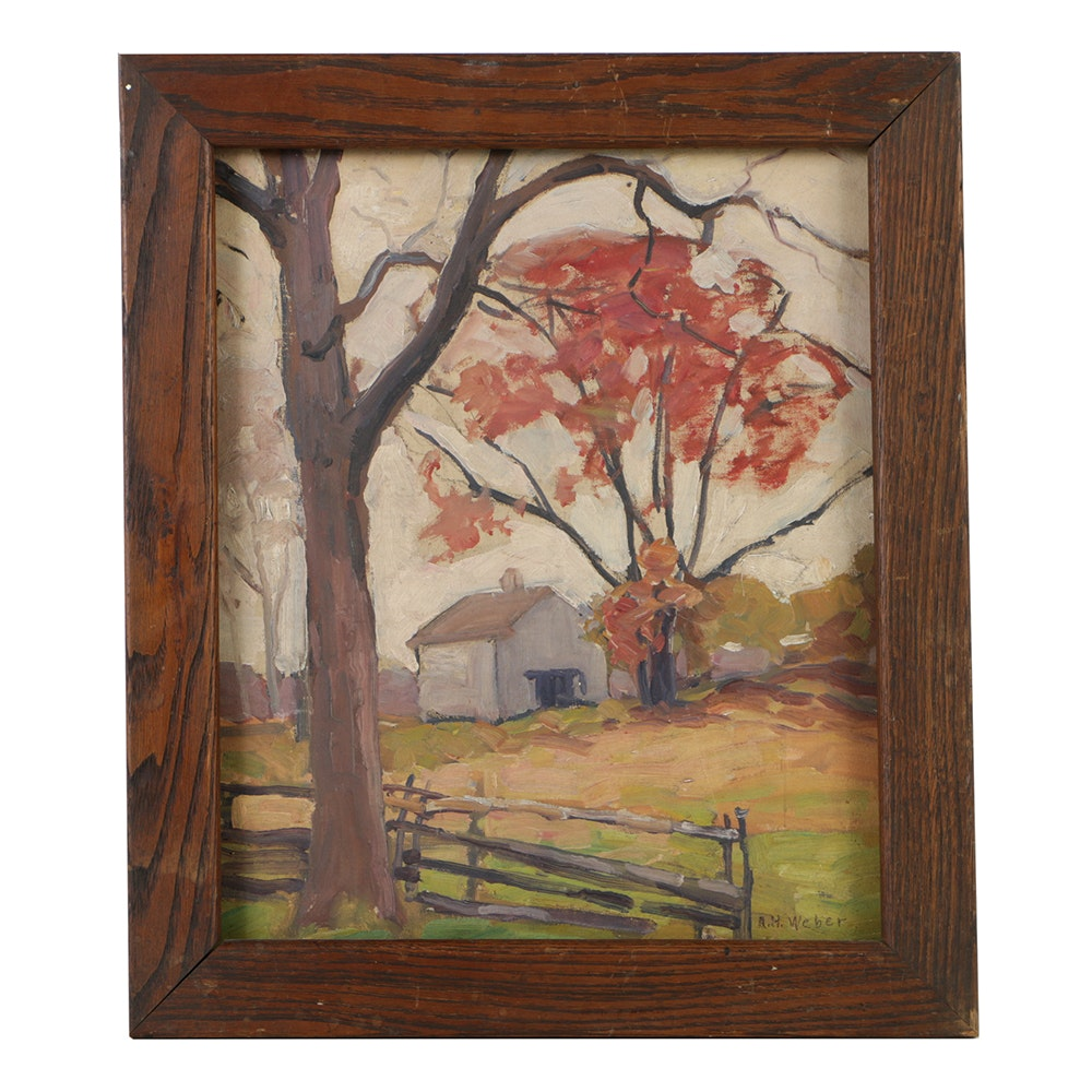 A.H. Weber Oil Painting on Canvas Board Rural Landscape