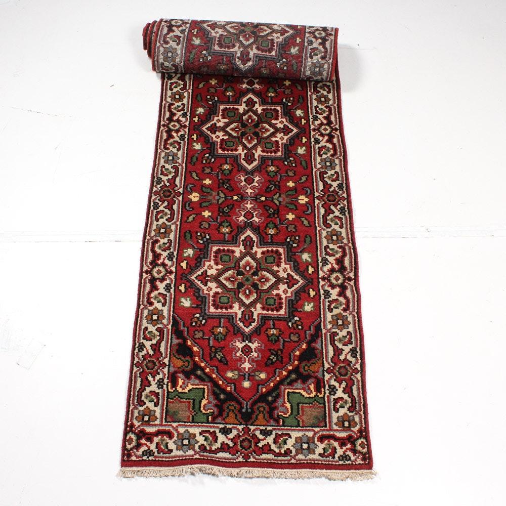 Hand-Knotted Indo-Persian Heriz Caucasian Carpet Runner