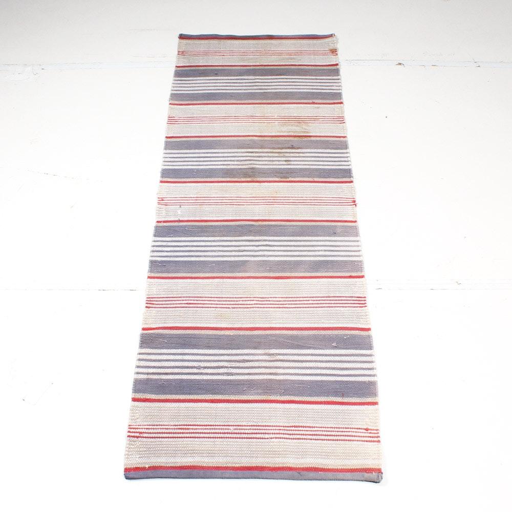 Antique Hand-Knotted Rag Carpet Runner