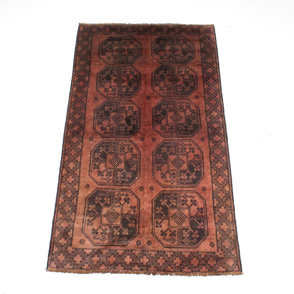Hand-Knotted Kazan Ersari Wool Carpet Runner