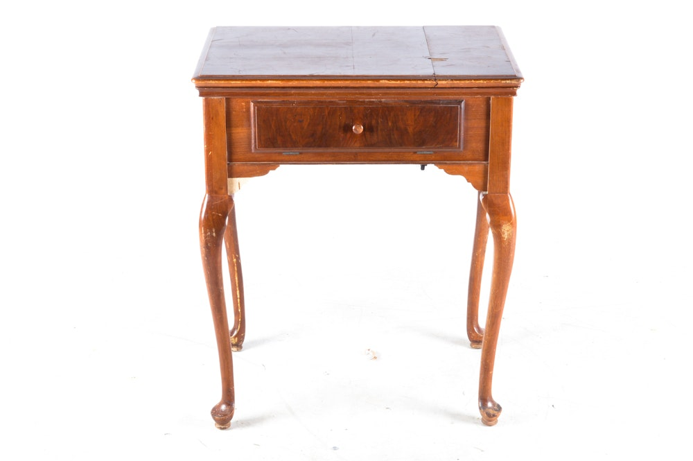 Vintage Queen Anne Style Sewing Table with Singer Sewing Machine