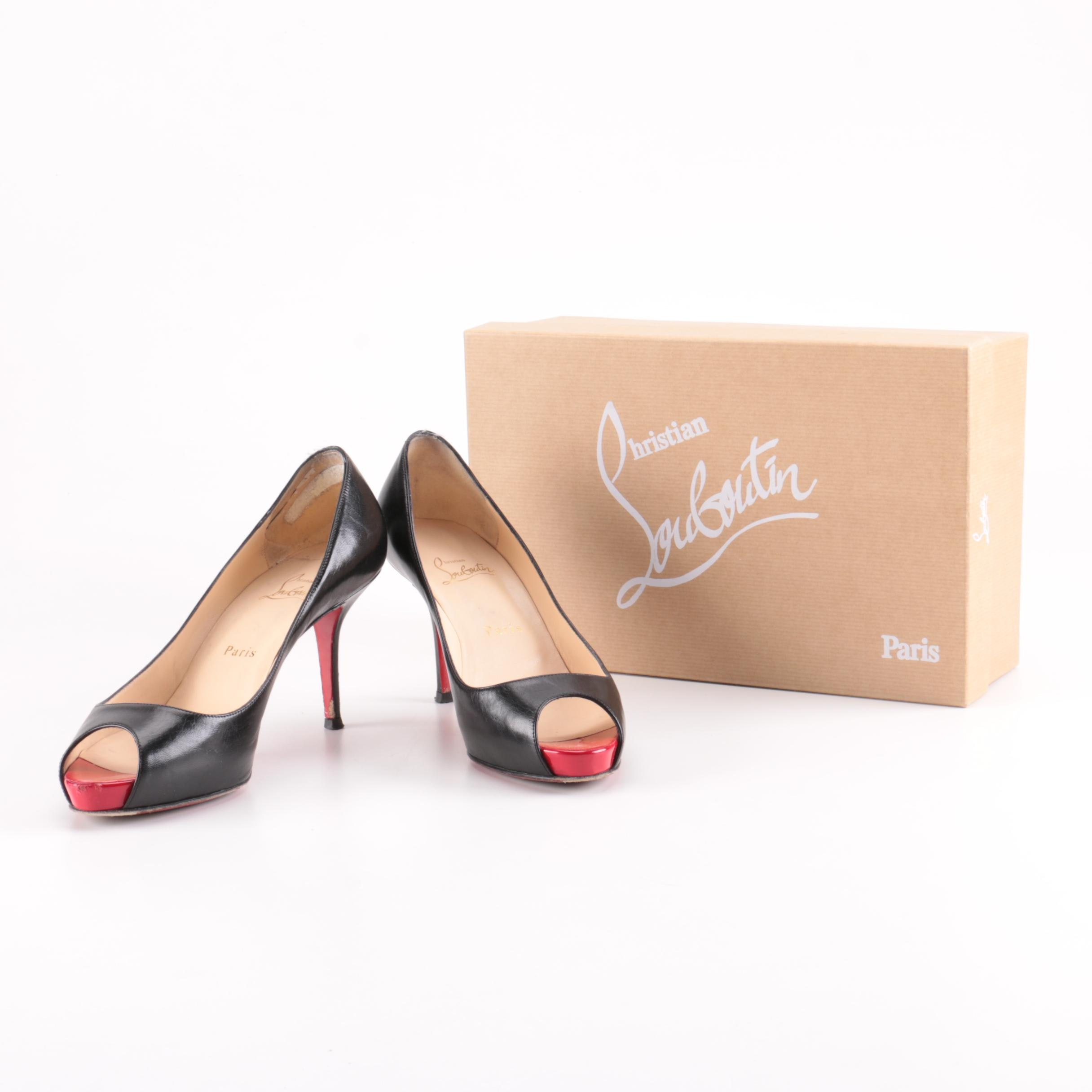 Christian Louboutin Red and Black Peep Toe Pumps