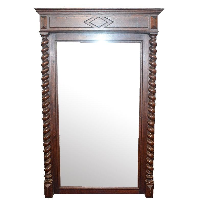 Large Oak Barley Twist Wall Mirror