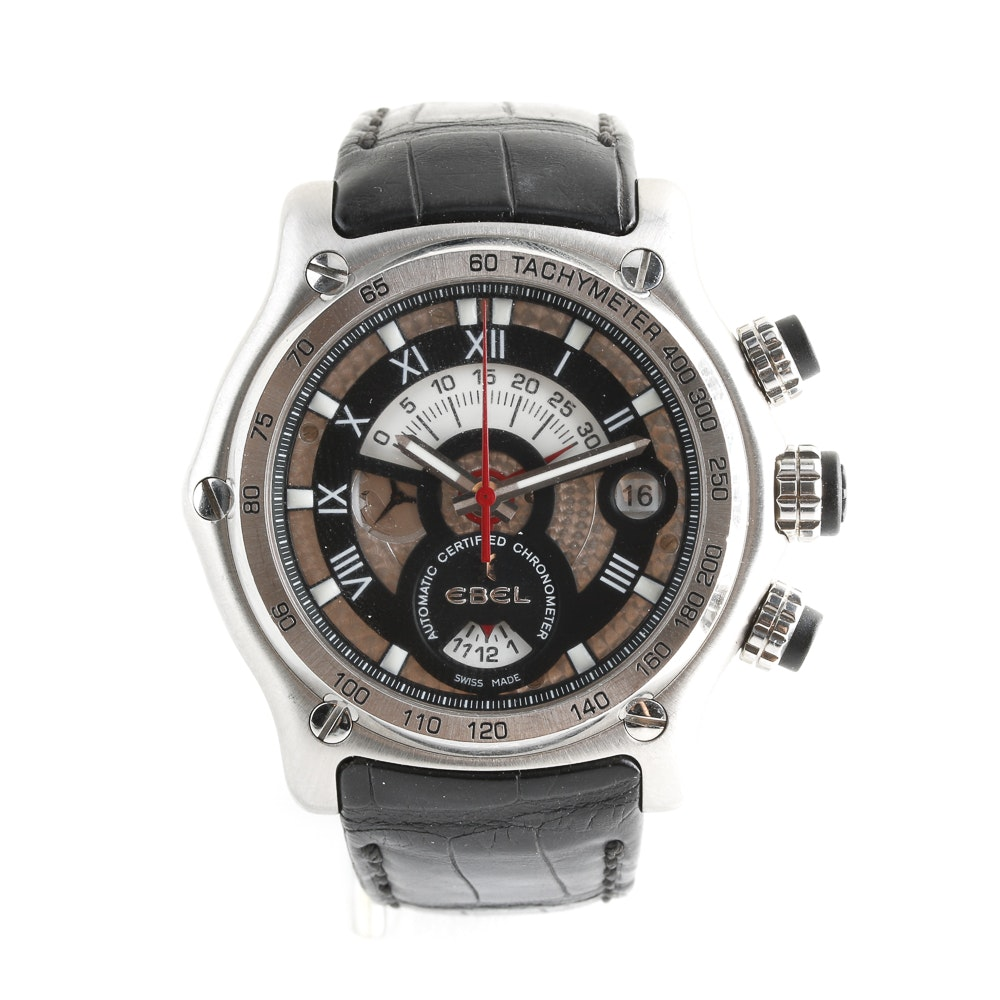 Ebel 1911 Automatic Chronograph Leather Strap Wristwatch