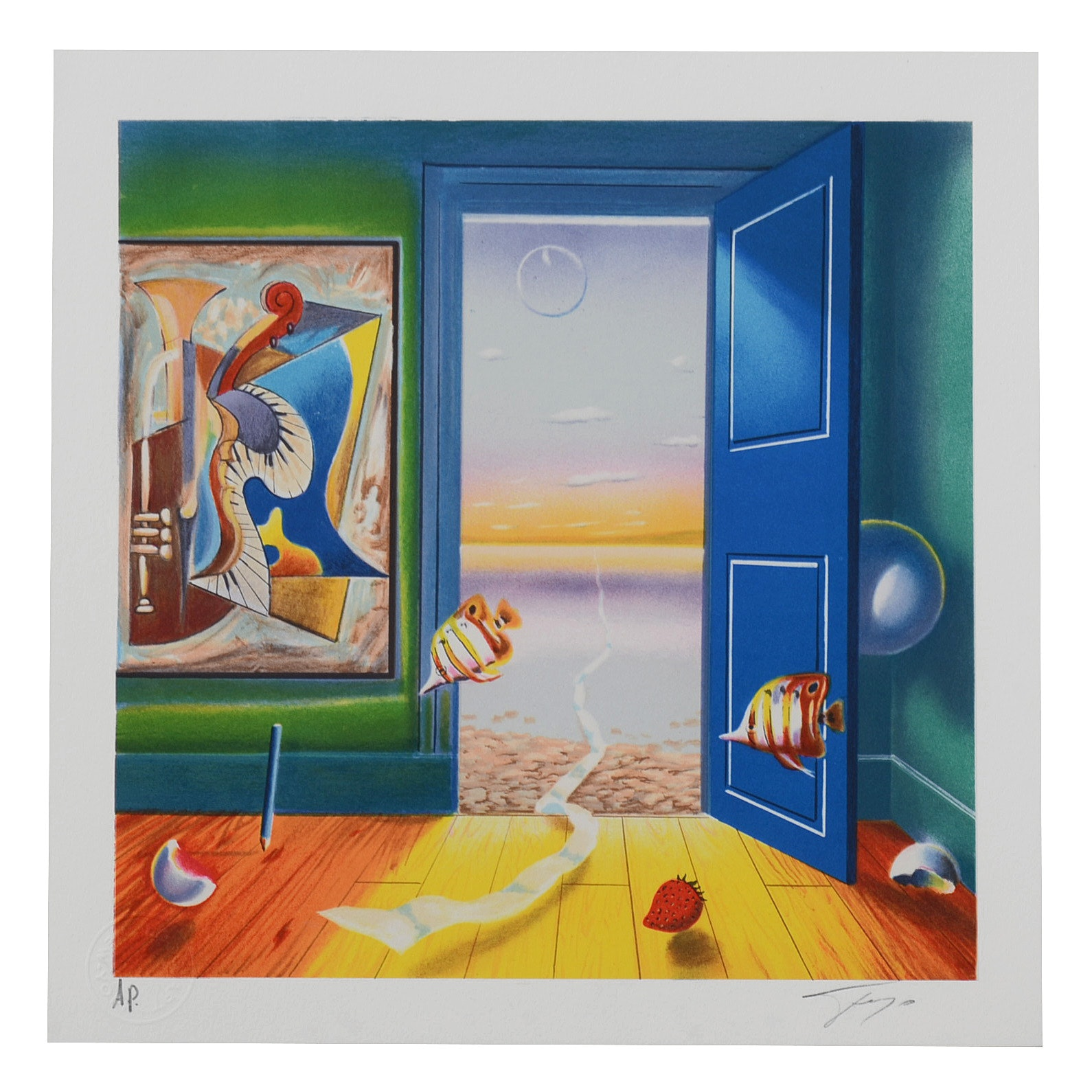 """Ferjo Signed Artist's Proof Hand-Pulled Lithograph """"Blue Door"""""""