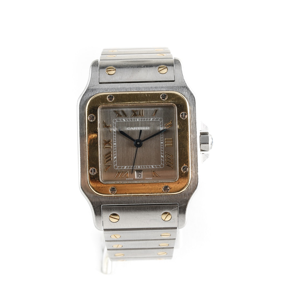 Cartier Santos Galbée Stainless Steel and 18K Yellow Gold Wristwatch