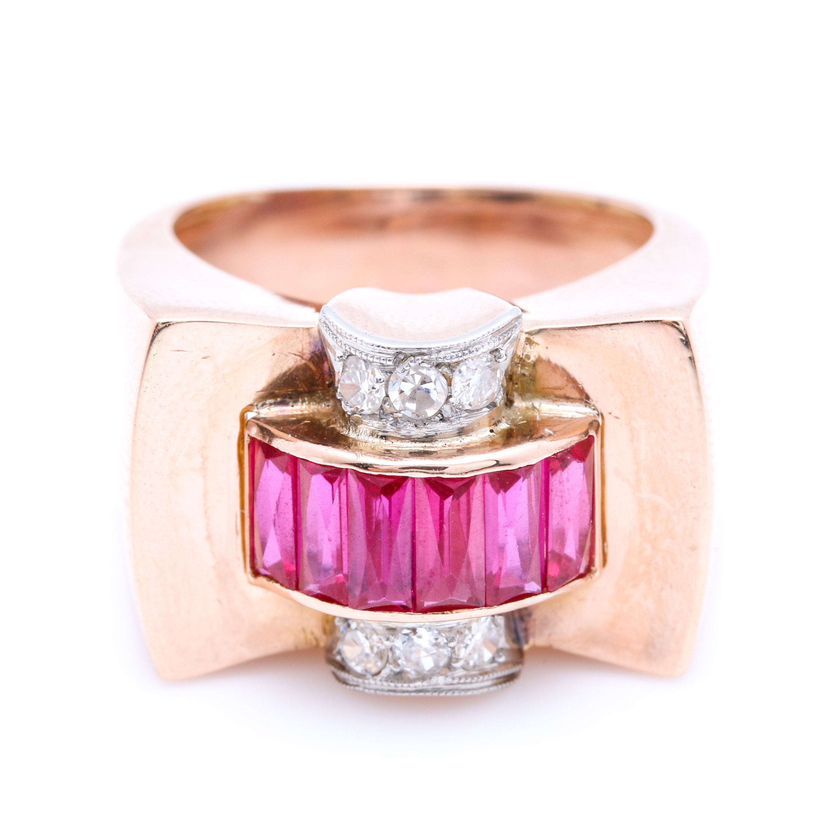 18K Rose Gold Diamond and Ruby Ring