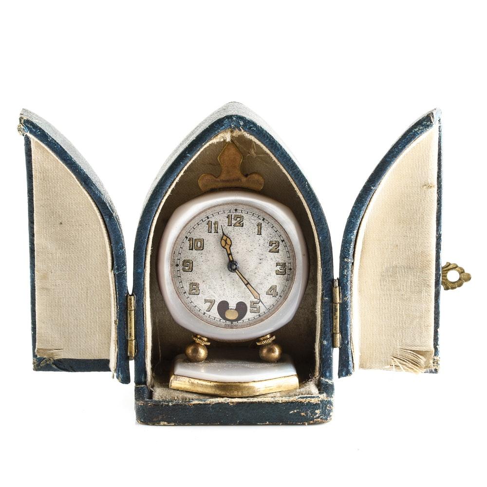 Antique Brevet Miniature Traveling Clock with Box