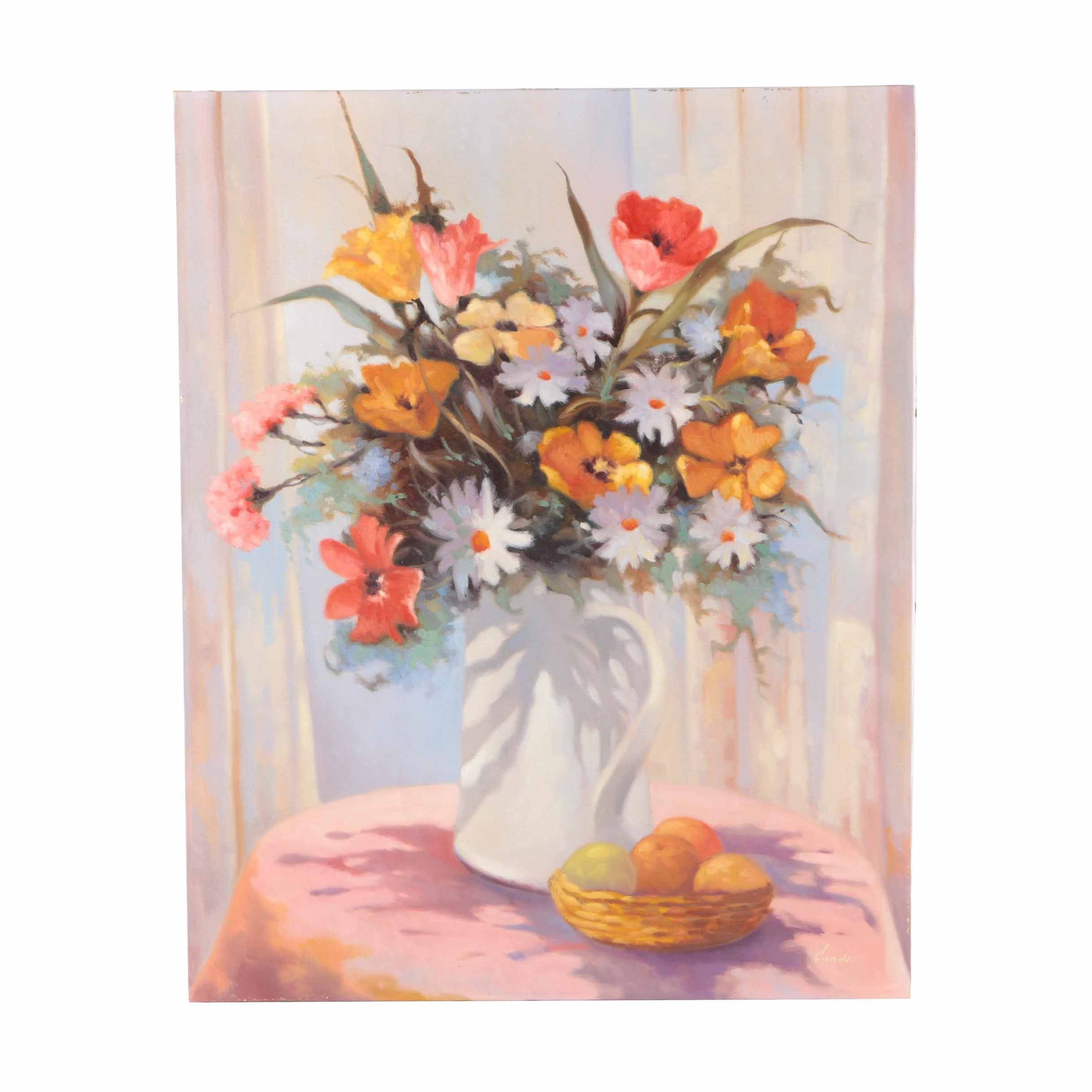 Lugano Candi Oil Painting on Canvas Floral Still Life with Fruit
