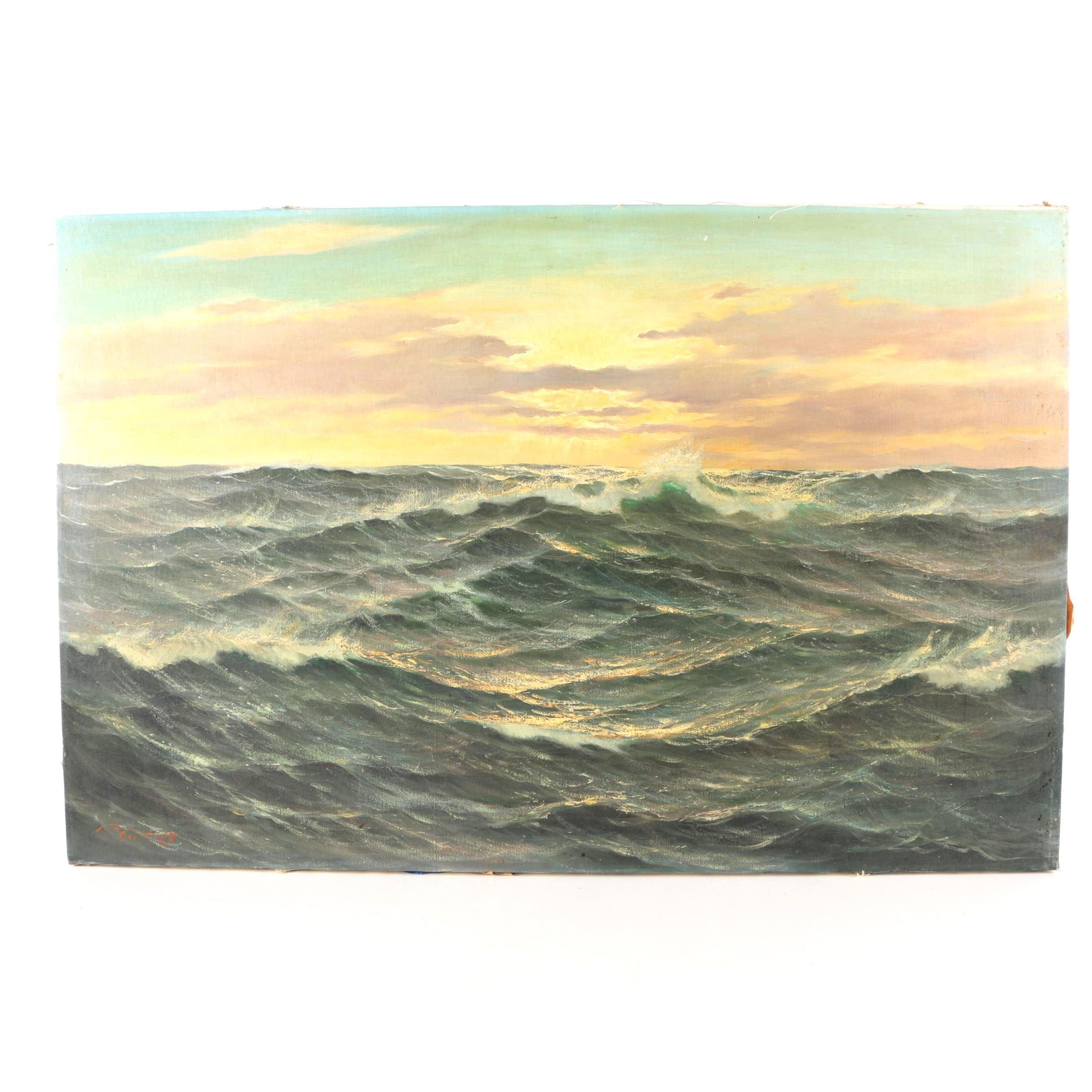 P. Marais Oil Painting on Canvas Seascape