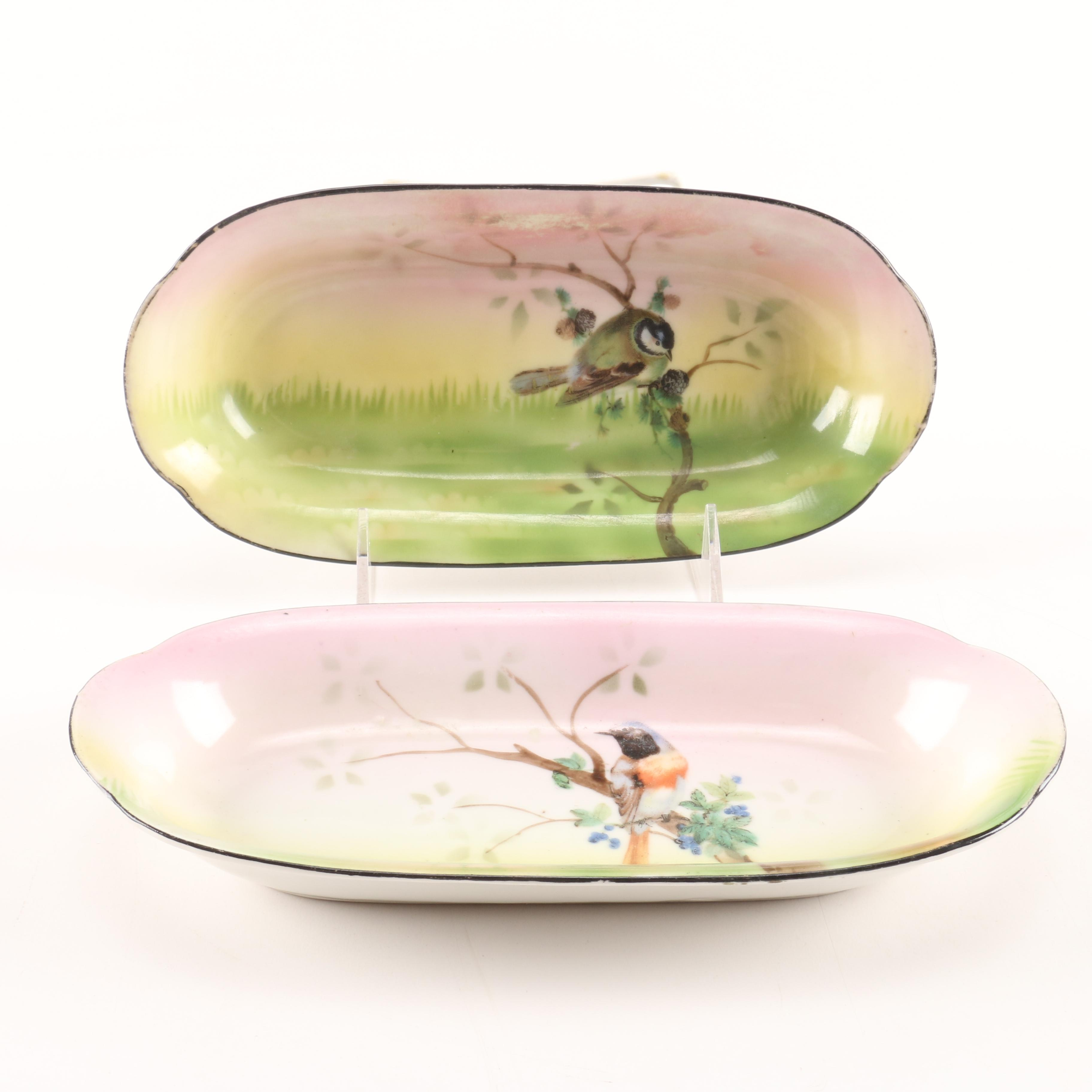 Antique Hand Painted Erdmann Schlegelmilch China Oval Dishes