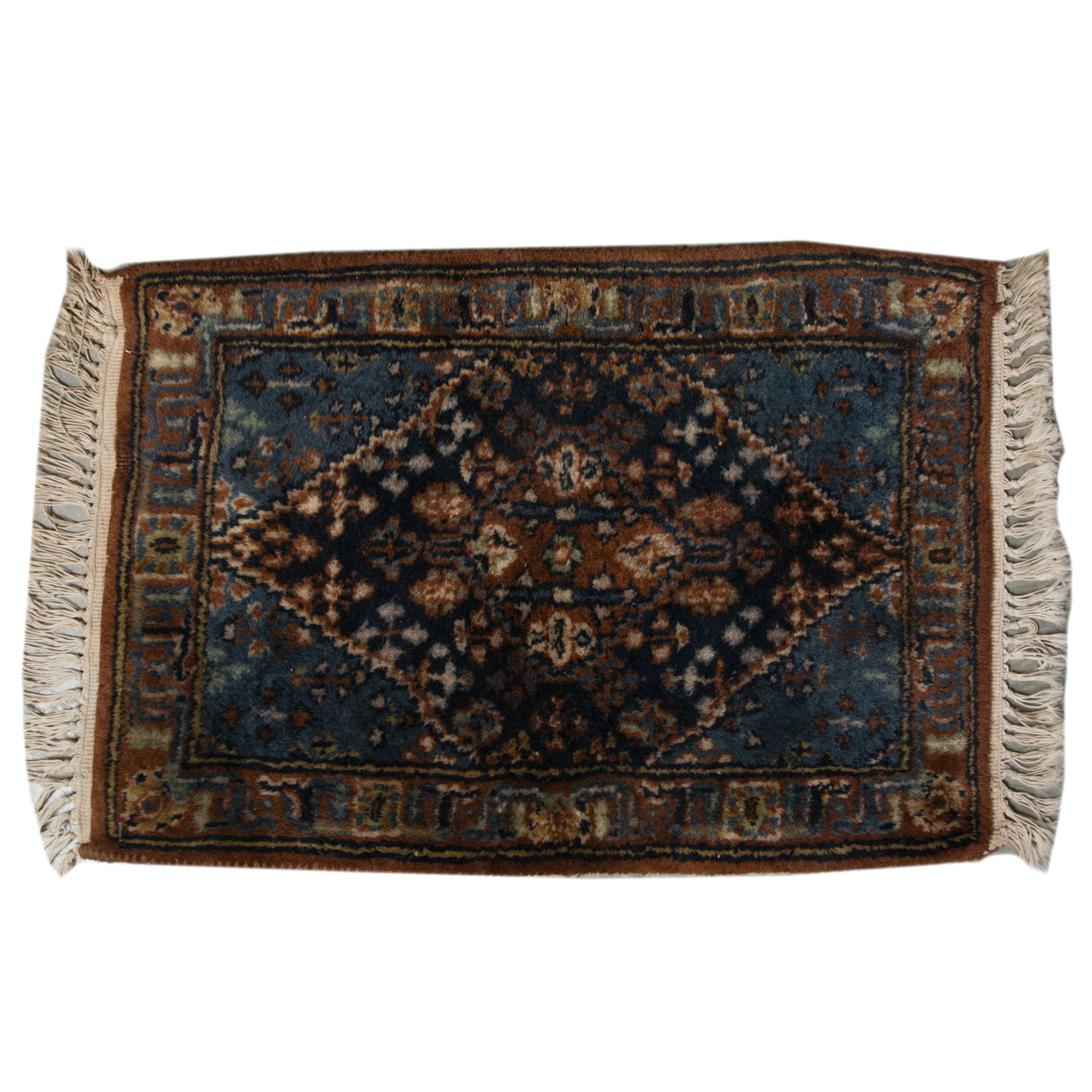 Antique Hand-Knotted Persian Wool Floor Mat