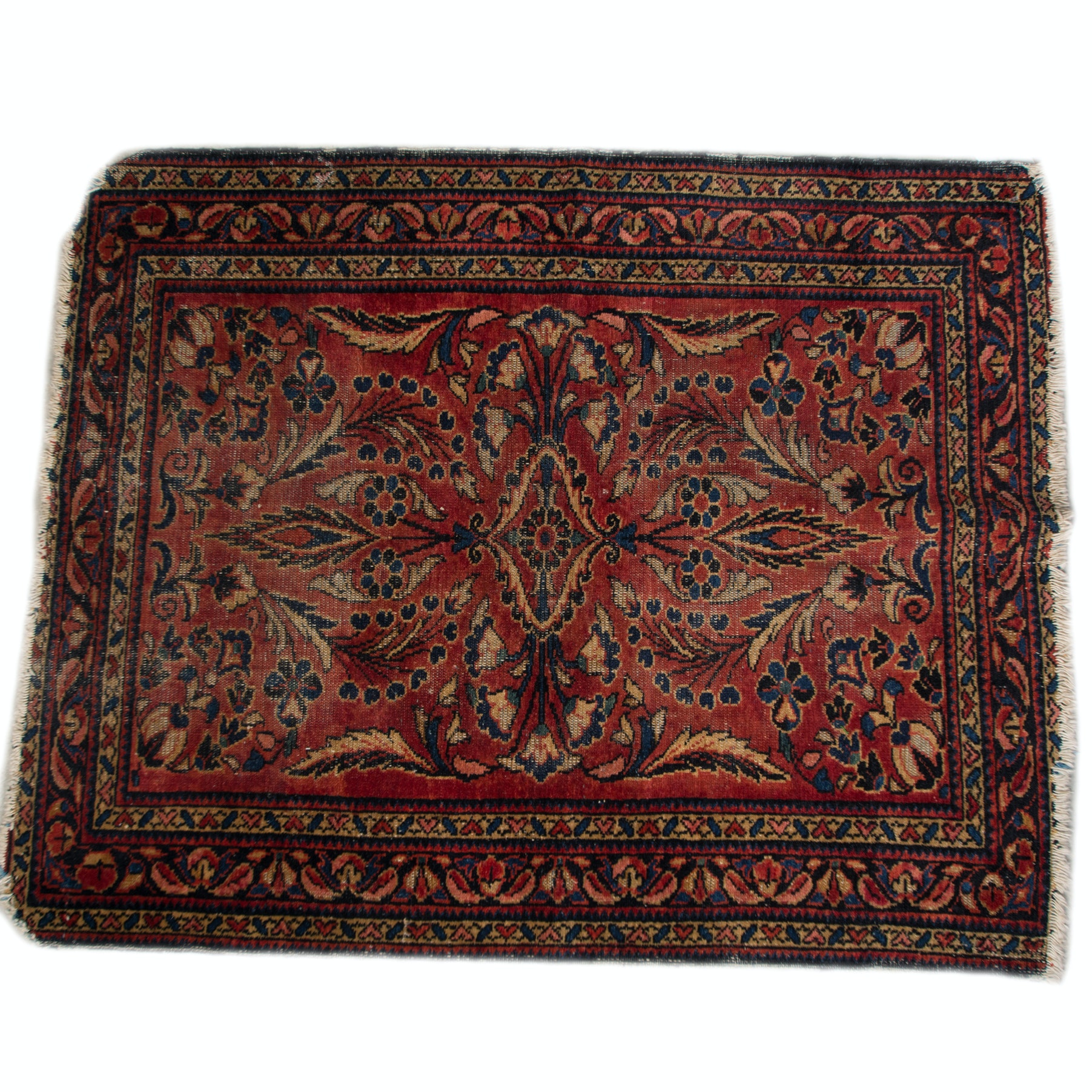 Antique Hand-Knotted Sarouk Wool Accent Rug