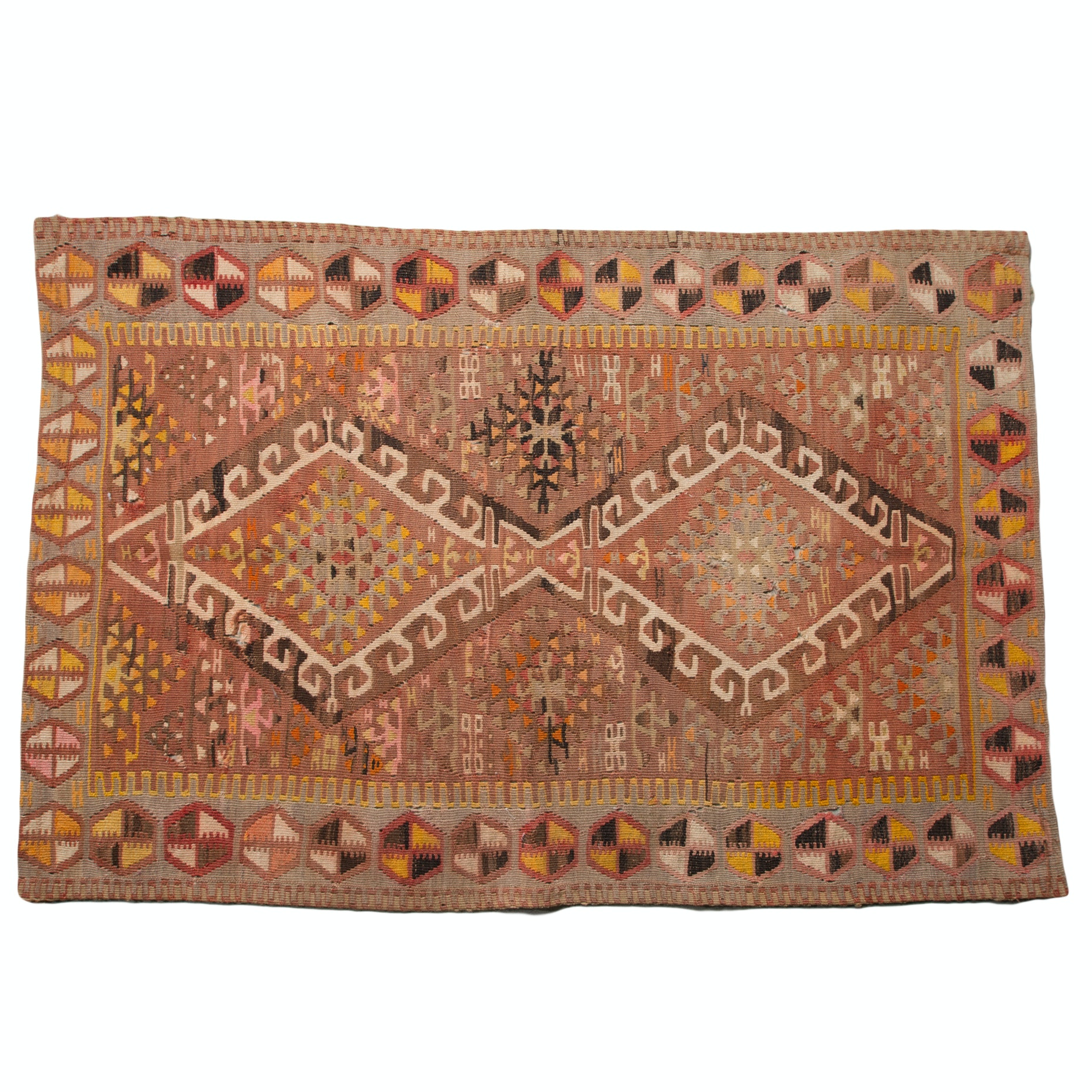 Nomadic Handwoven Turkish Kilim Accent Rug