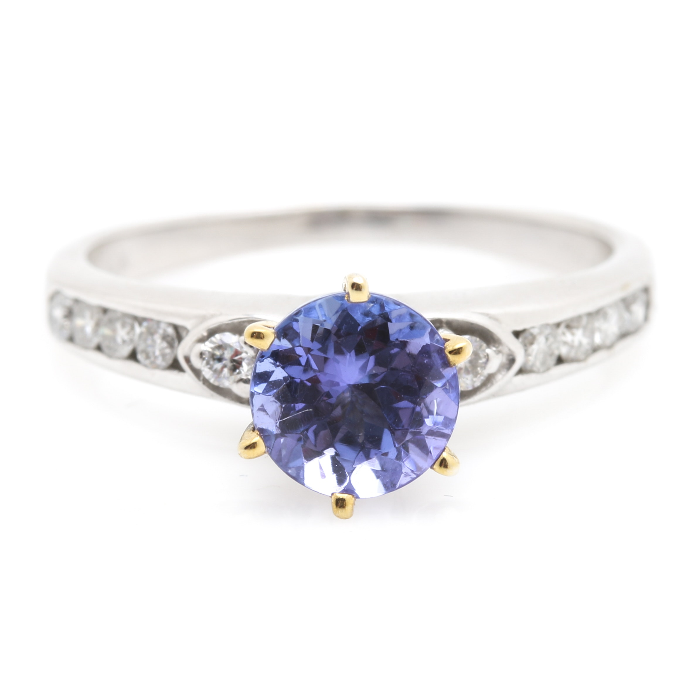 14K White Gold 1.00 Carat Tanzanite and Diamond Ring