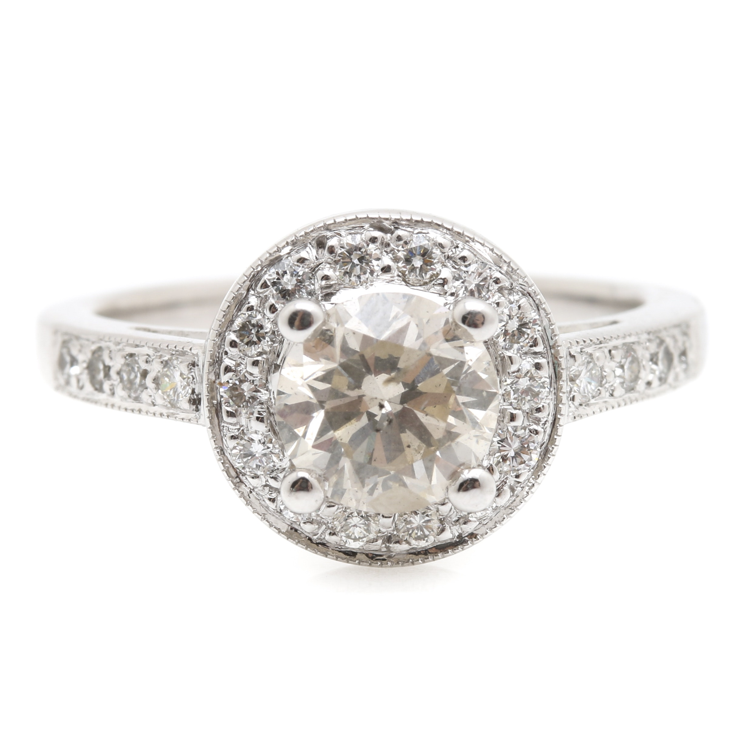 18K White Gold 1.41 CTW Diamond Halo Ring