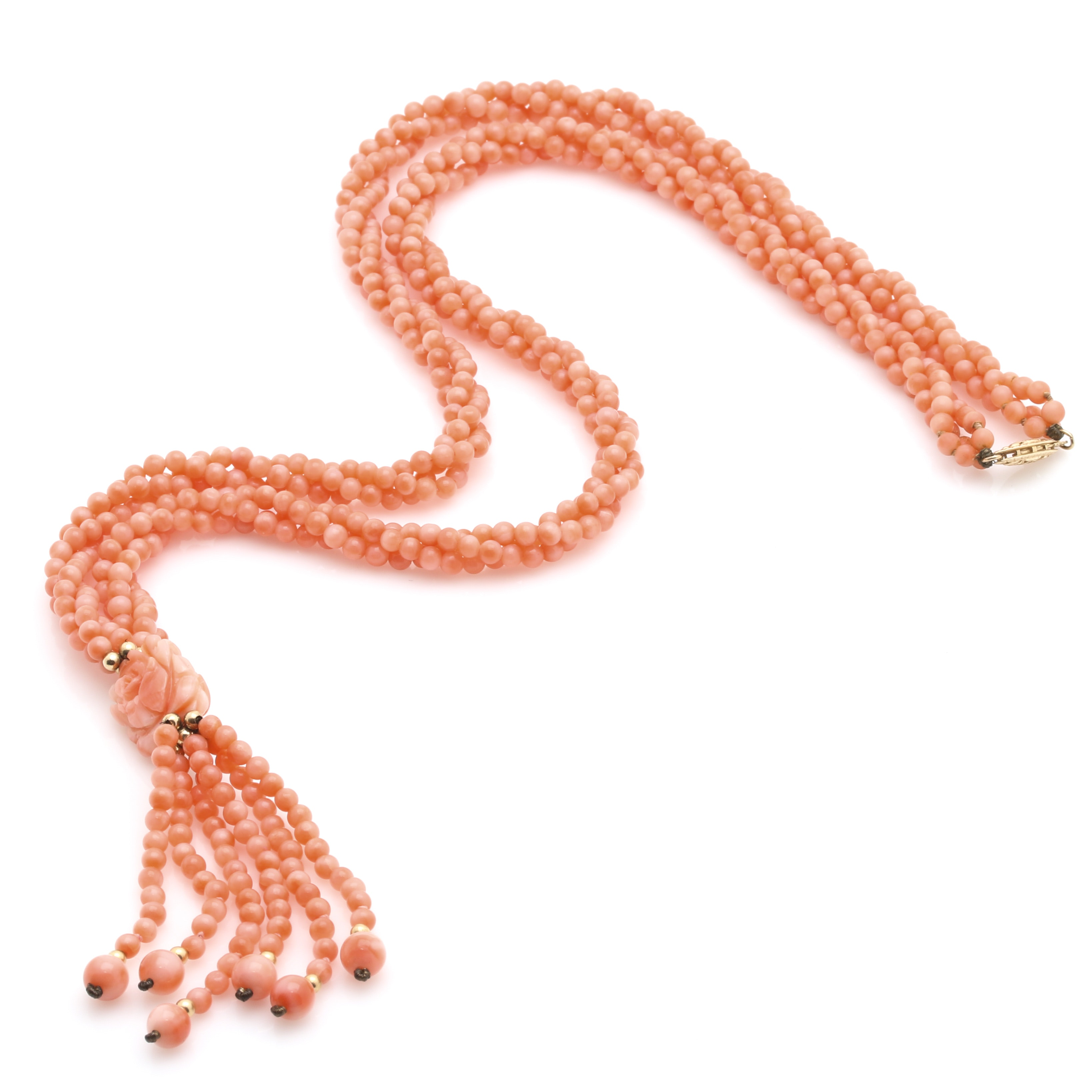 Beaded Coral Necklace with a 14K Yellow Gold Clasp