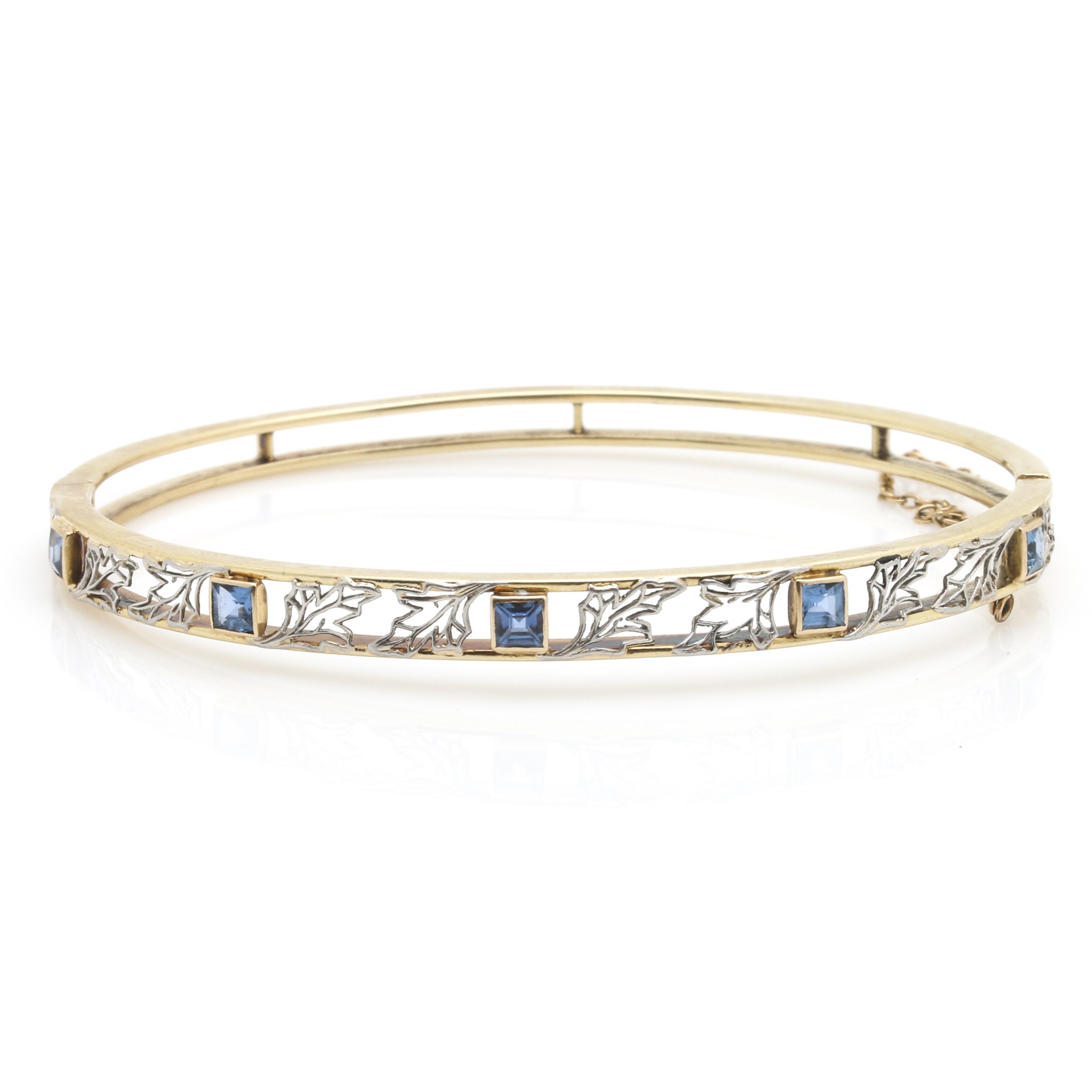 14K Yellow Gold Sapphire Openwork Hinged Bangle Bracelet
