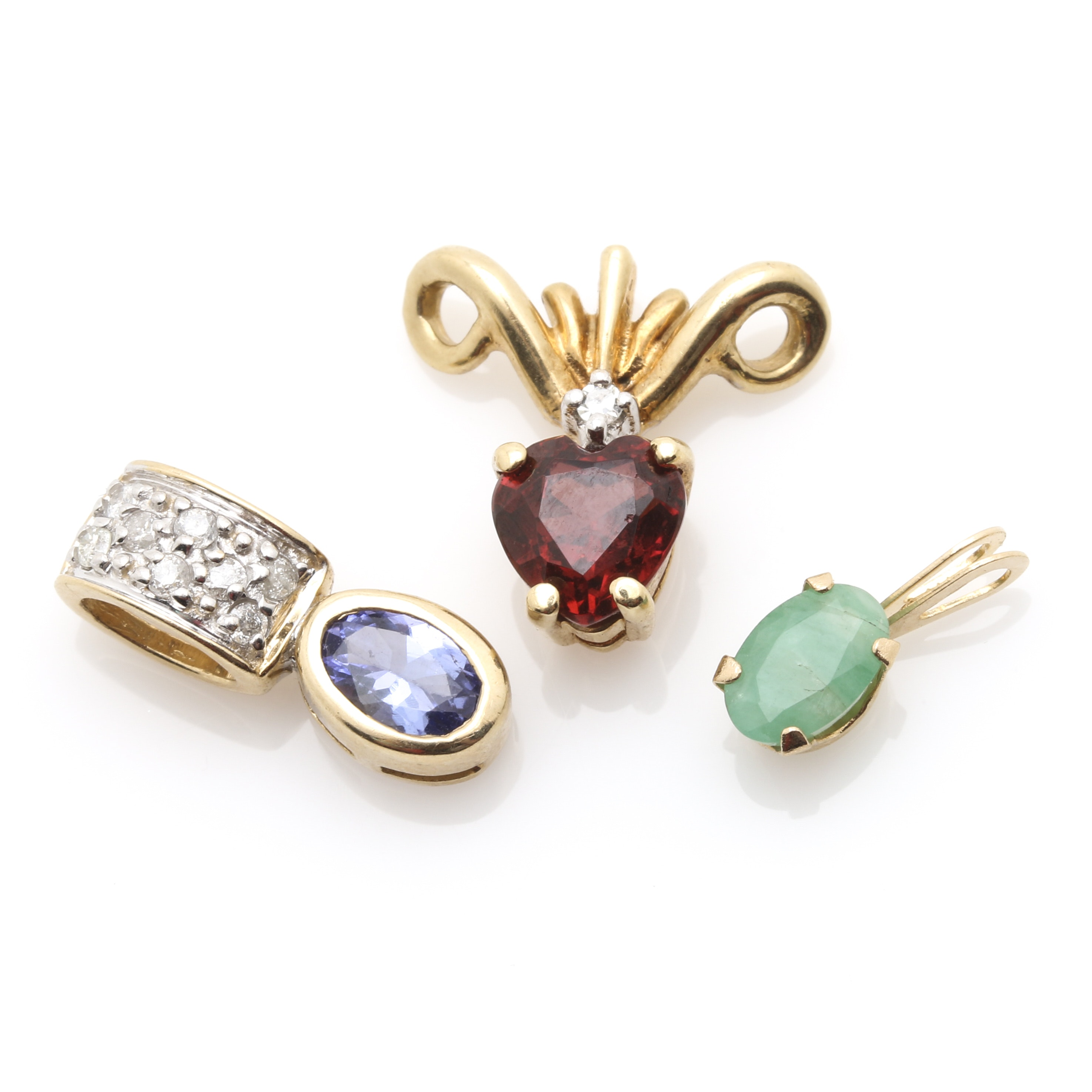14K Yellow Gold Gemstone Pendants