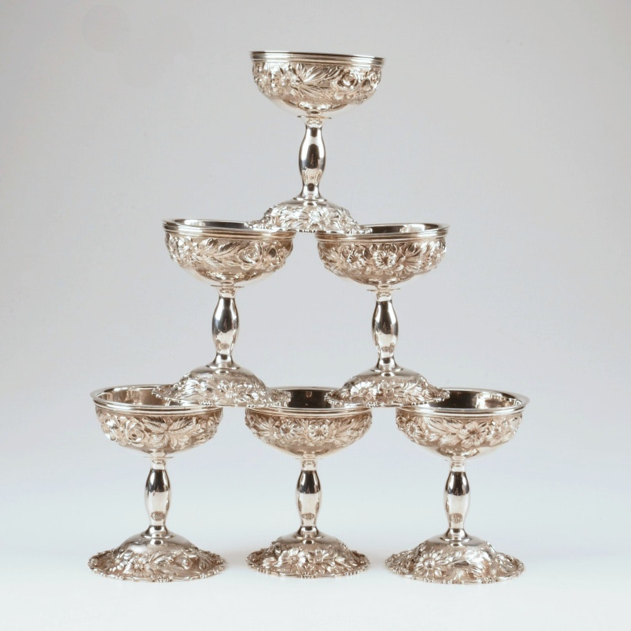Circa 1941 Stieff Sterling Silver Hand-Chased Sherbet Cups
