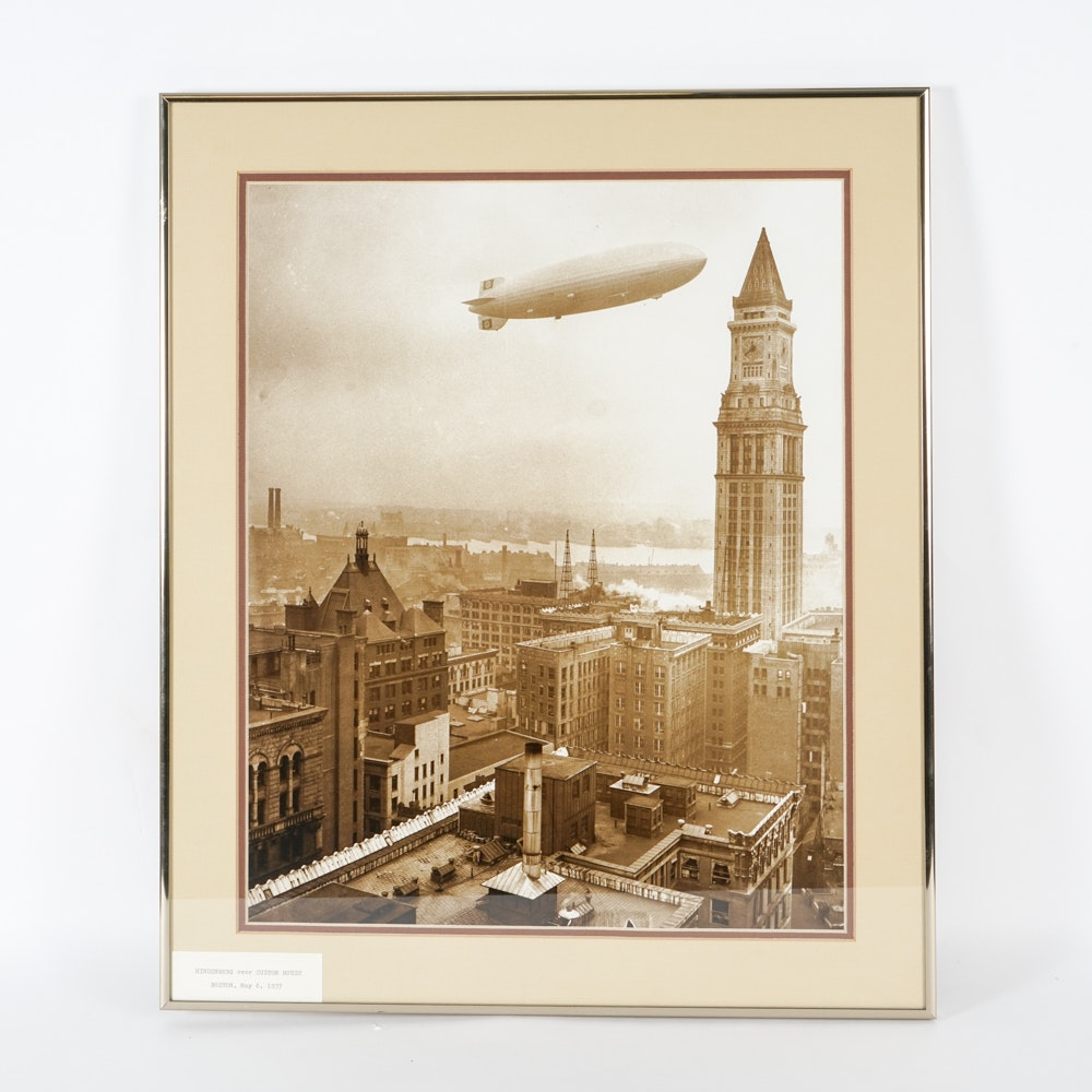 Hindenburg Over Boston Common House Giclee Print After Photograph