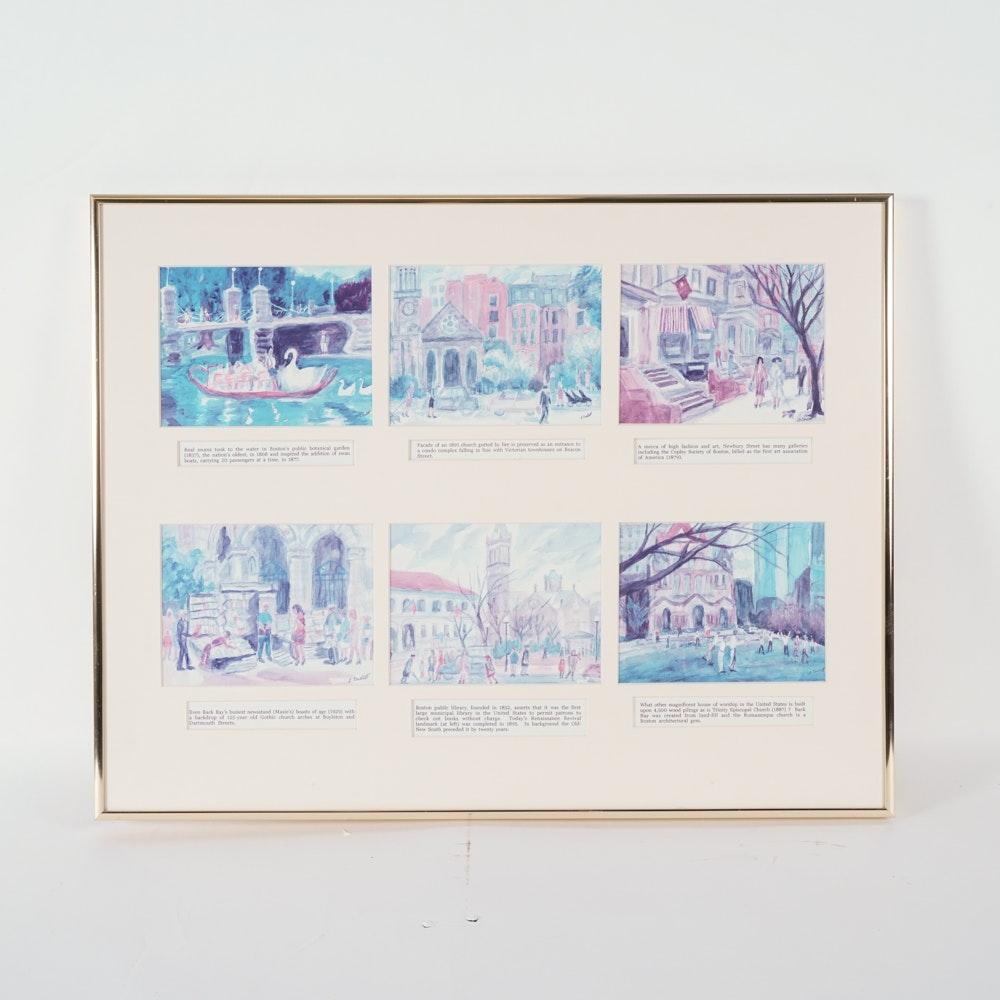 A. Cordell Framed Boston Landmarks