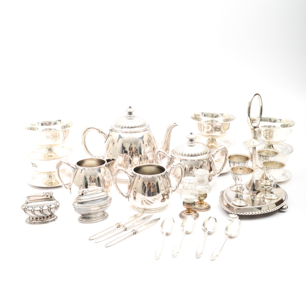 Silver Plate Tea Set and Serveware Including Weighted Sterling