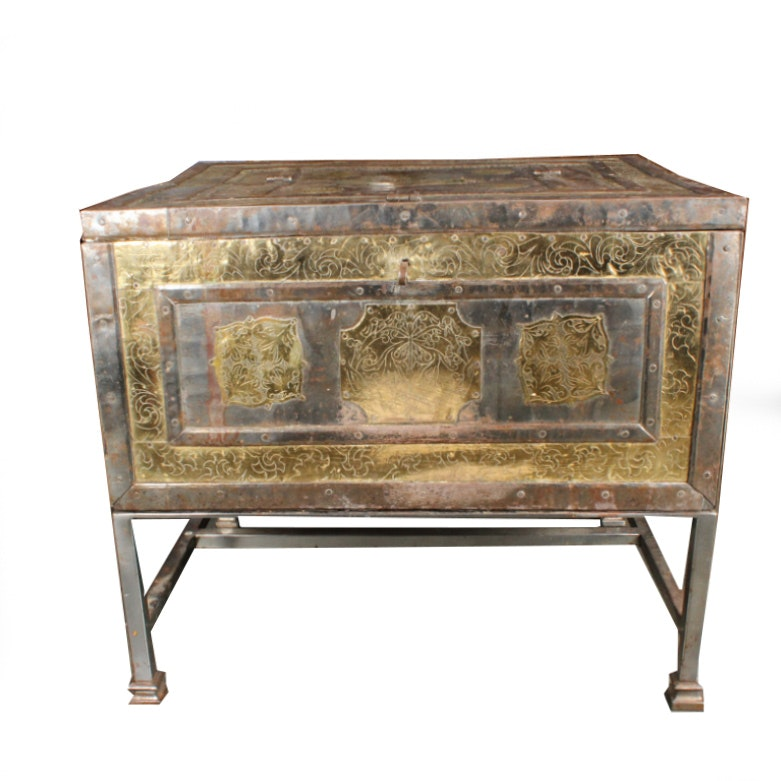 Vintage Asian Style Metal Chest-on-Stand