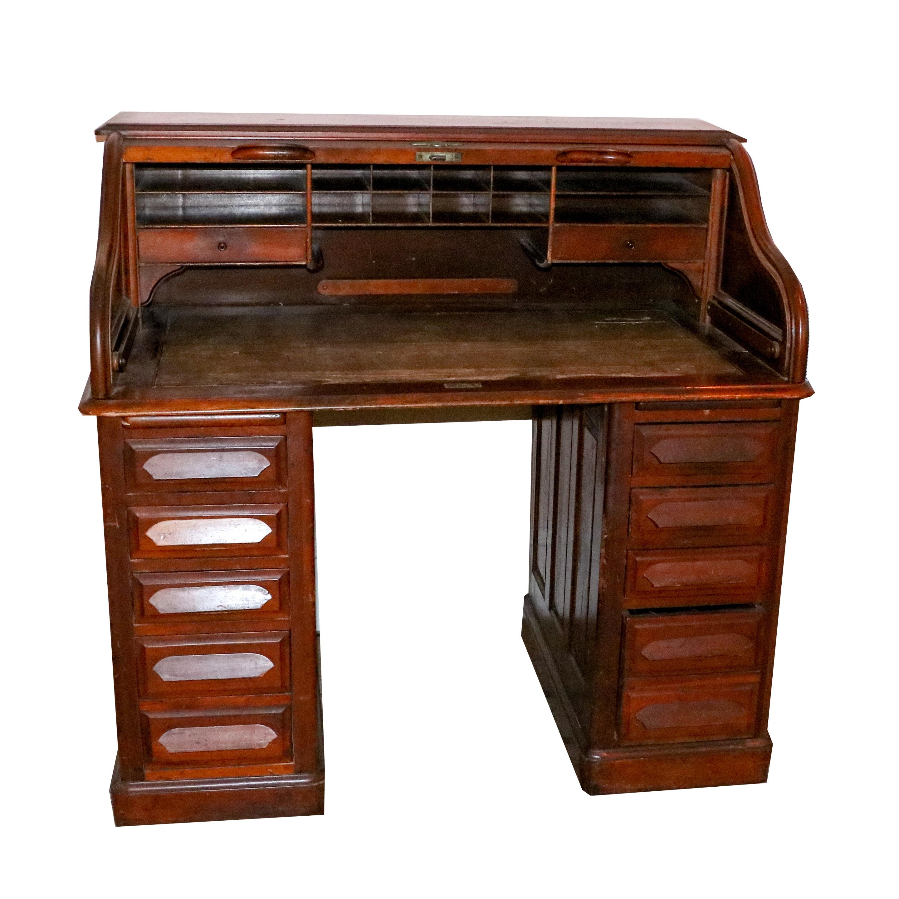 Wooden Roll Top Kneehole Desk by Union Desk Company