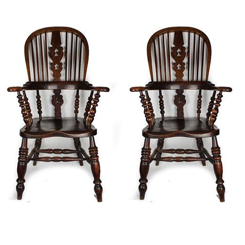 English Windsor Style Sack-Back Armchairs