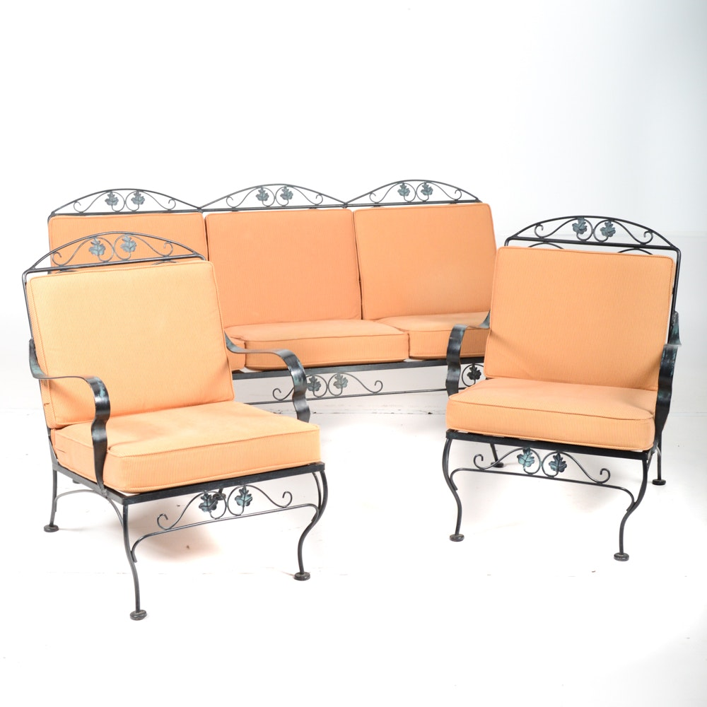 Metal Patio Seating Set With End Tables