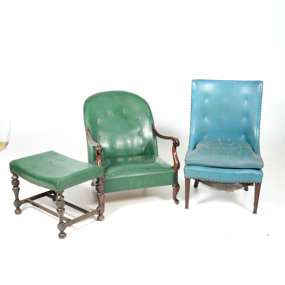Vintage Leather and Faux Leather Chairs and Ottoman