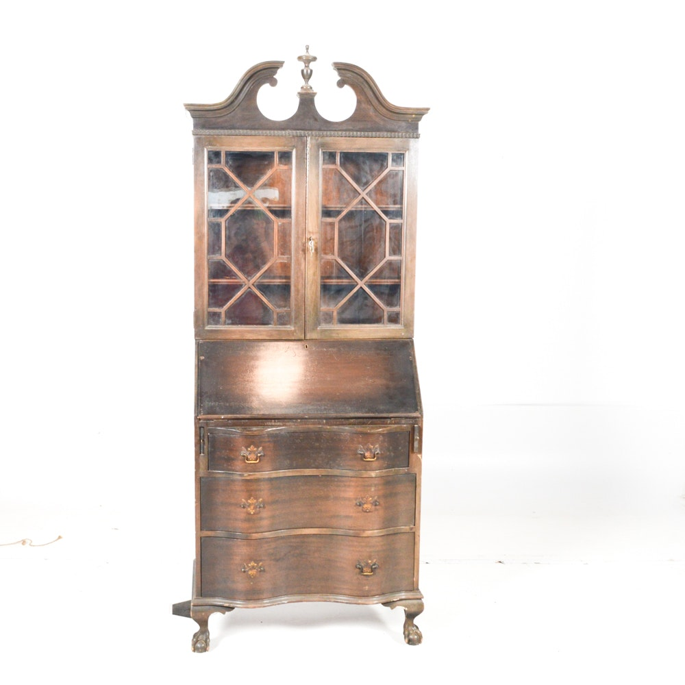 Early 20th Century Chippendale Style Secretary Bookcase