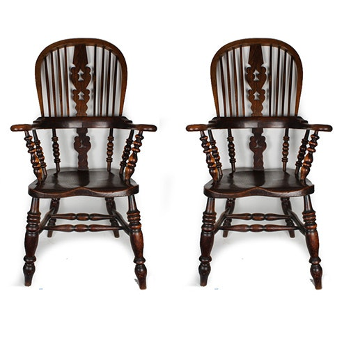 English Windsor Style Sack-Back Armchairs