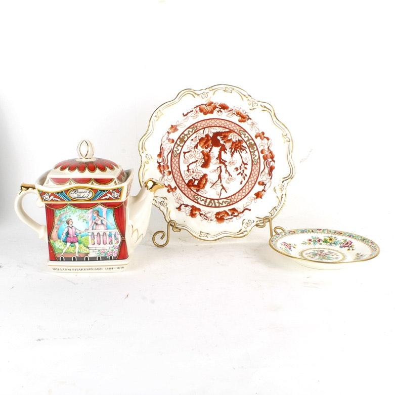 Two Coalport Bone China Plates and a Sadler Porcelain Teaport