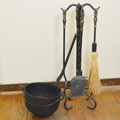 fireplace tools set and soot pot ebth