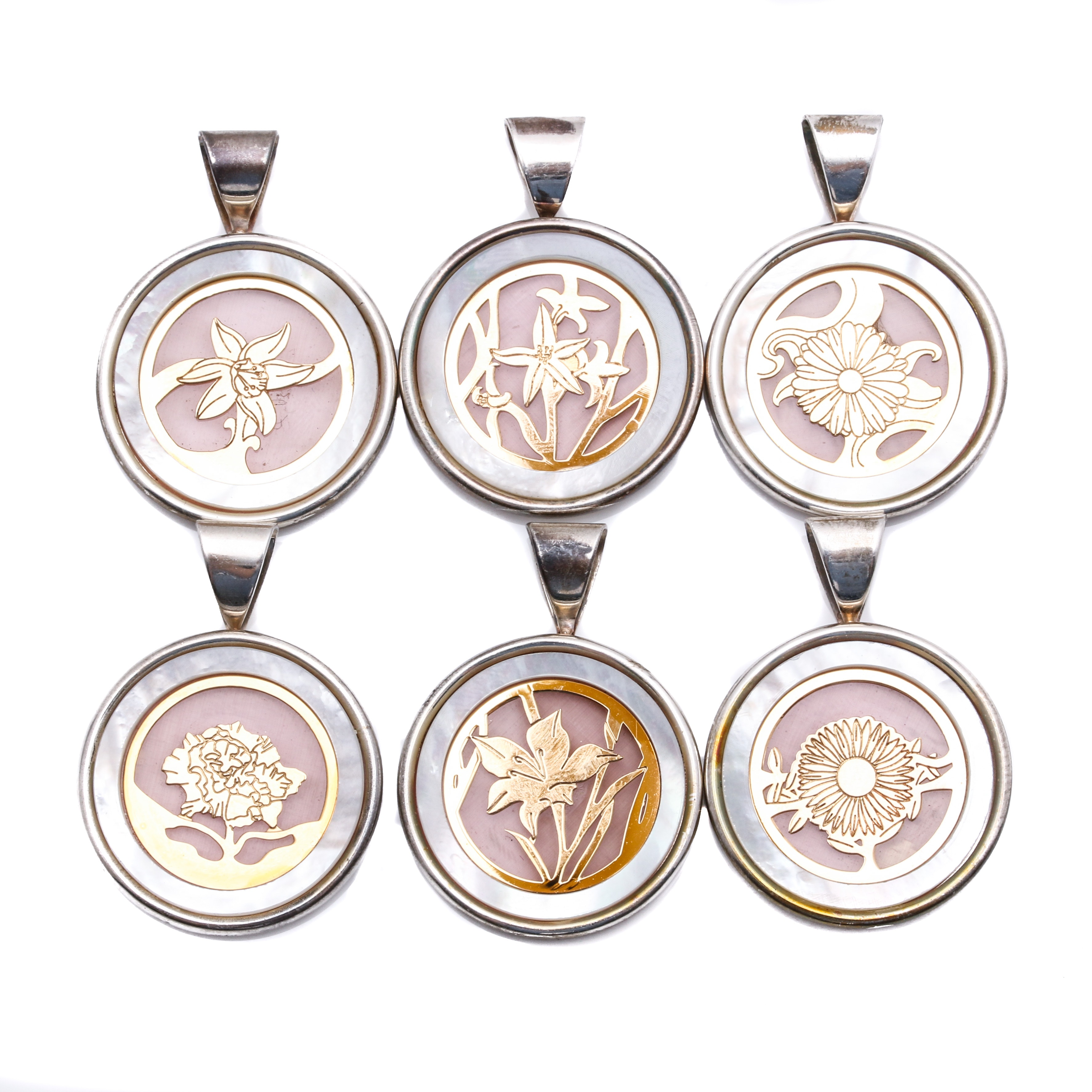 Sterling Silver and 14K Yellow Gold Mother of Pearl Flower of the Month Pendants