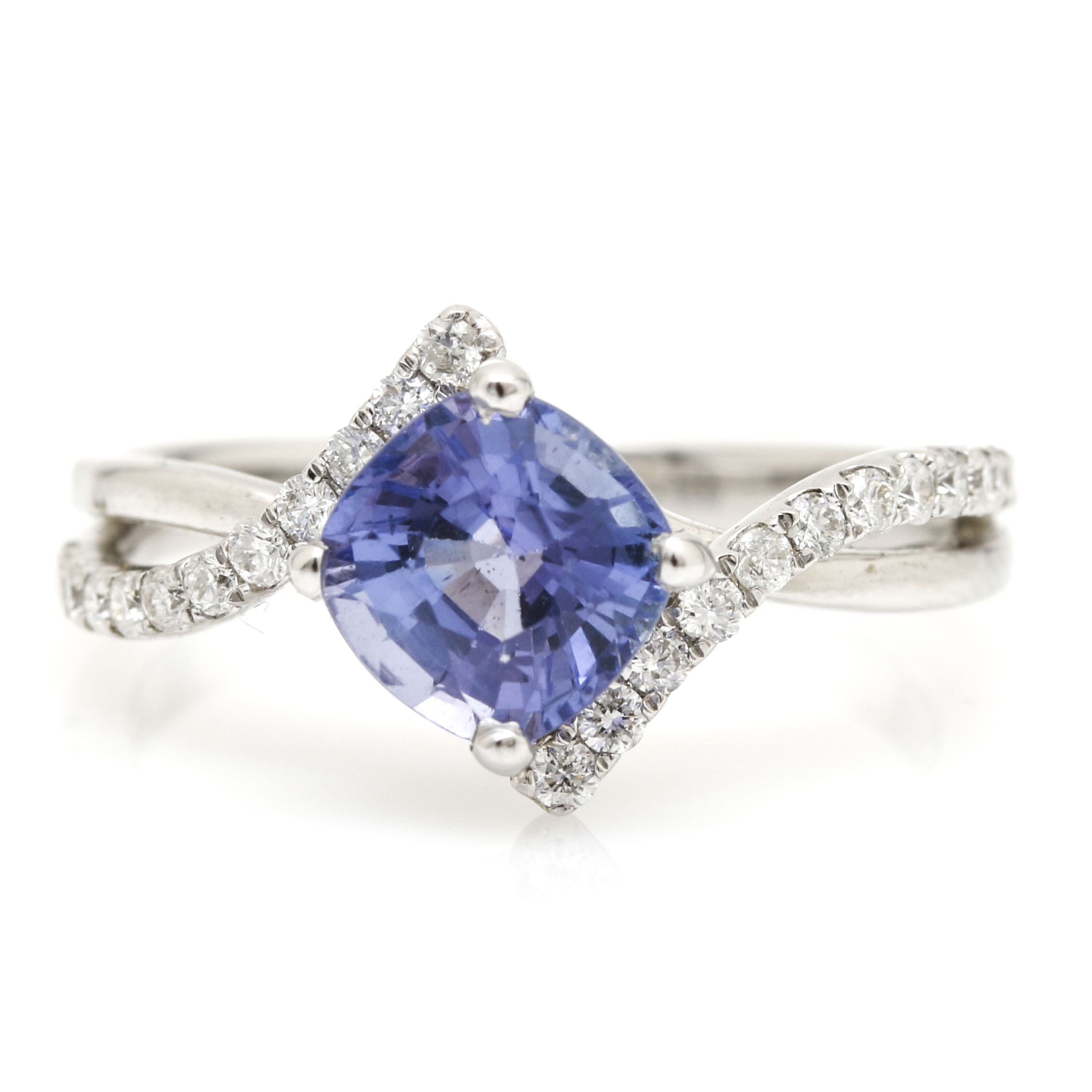 18K White Gold 1.30 CTS Tanzanite and 0.30 CTW Diamond Ring
