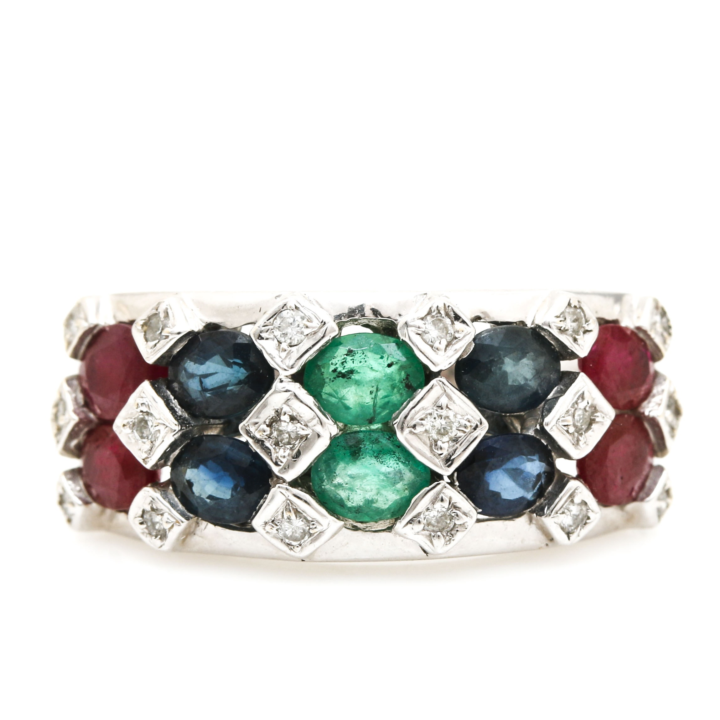 18K White Gold Ruby, Sapphire, Emerald and Diamond Ring