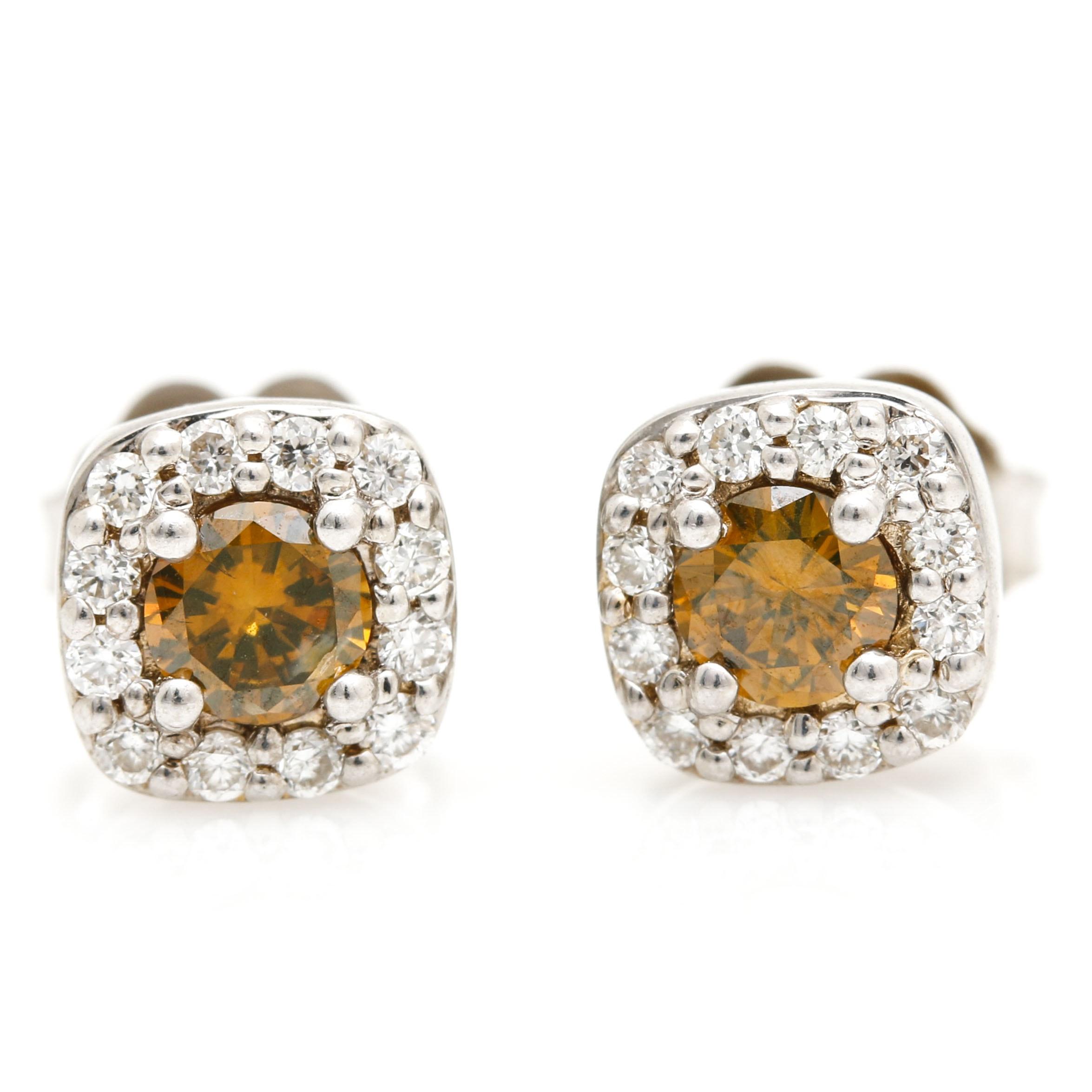 14K White Gold Fancy Reddish Orange Diamond Earrings