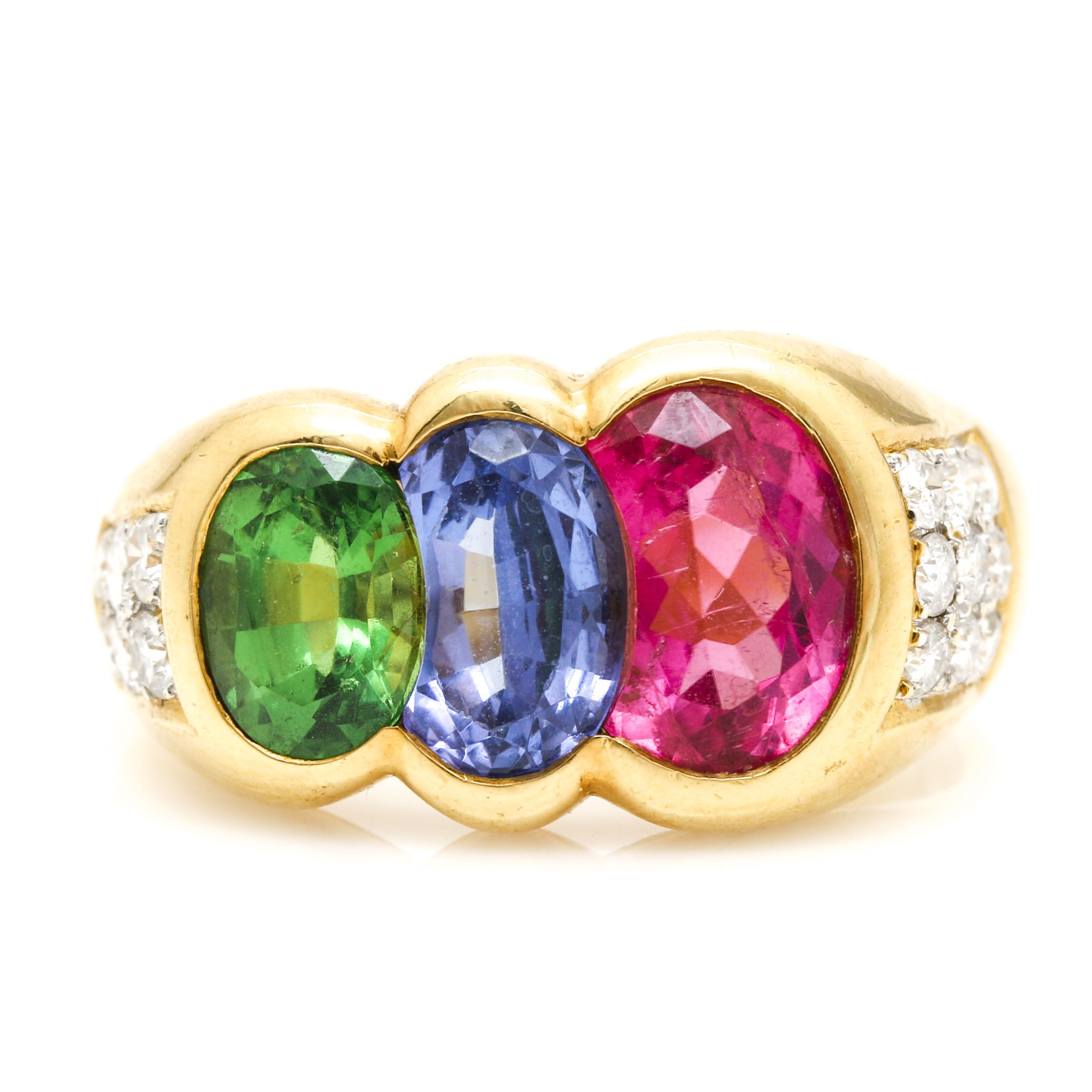 18K Yellow Gold Multi-Gemstone Asymmetric Ring