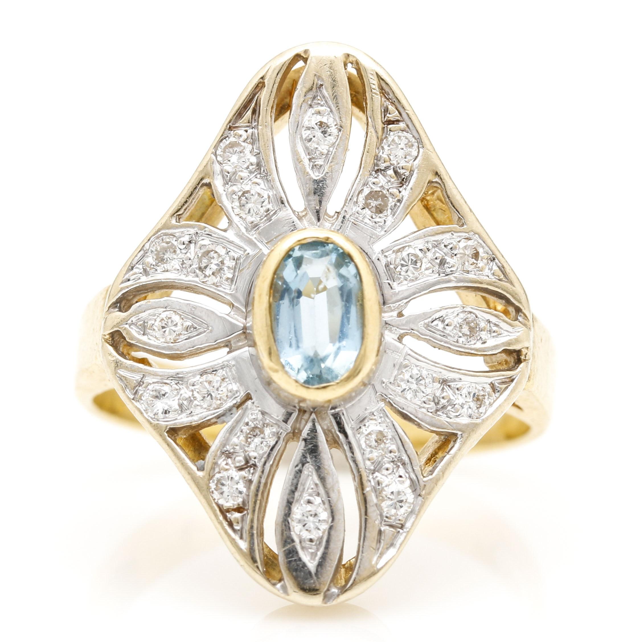 18K Yellow Gold Diamond and Aquamarine Ring