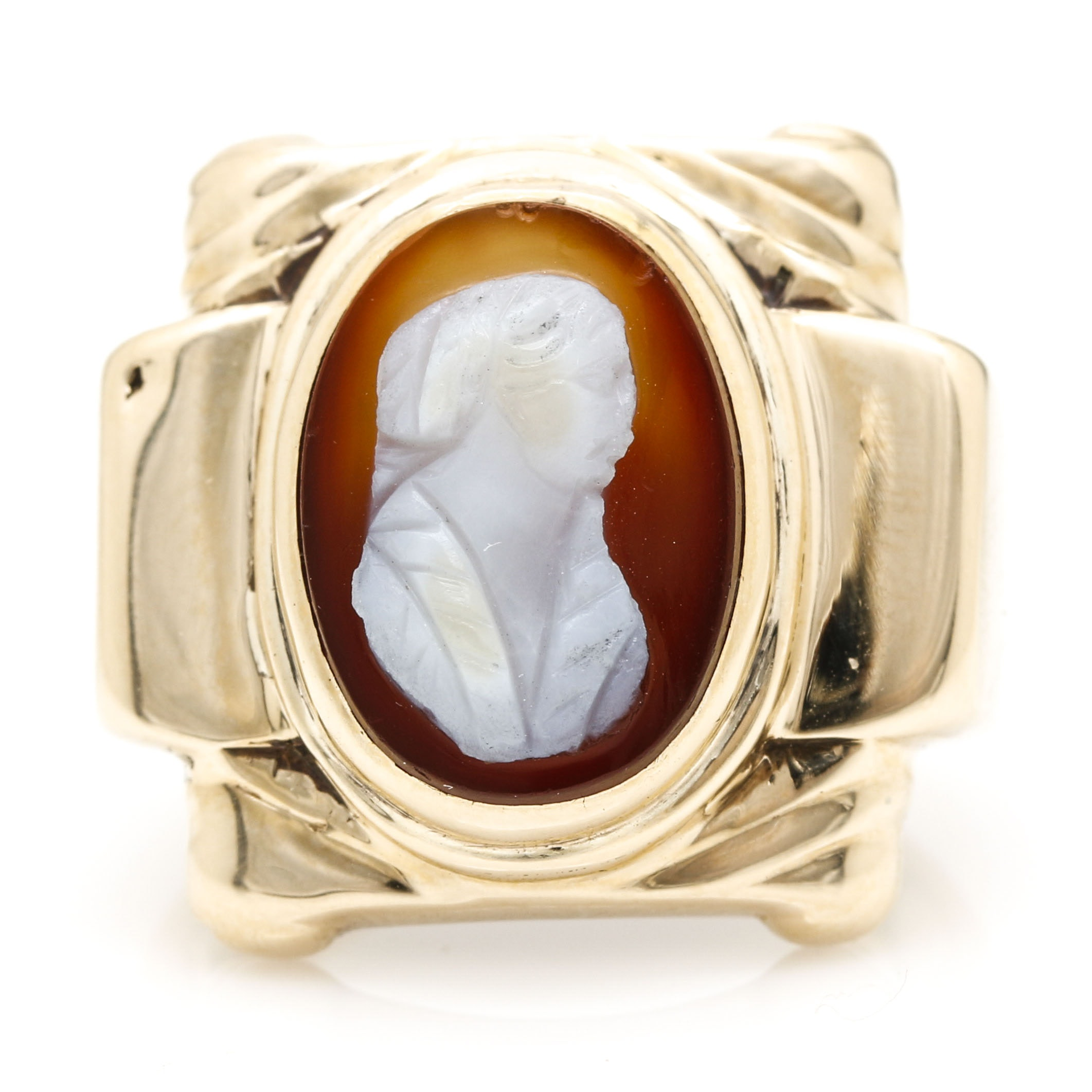 10K Yellow Gold Agate Cameo Ring