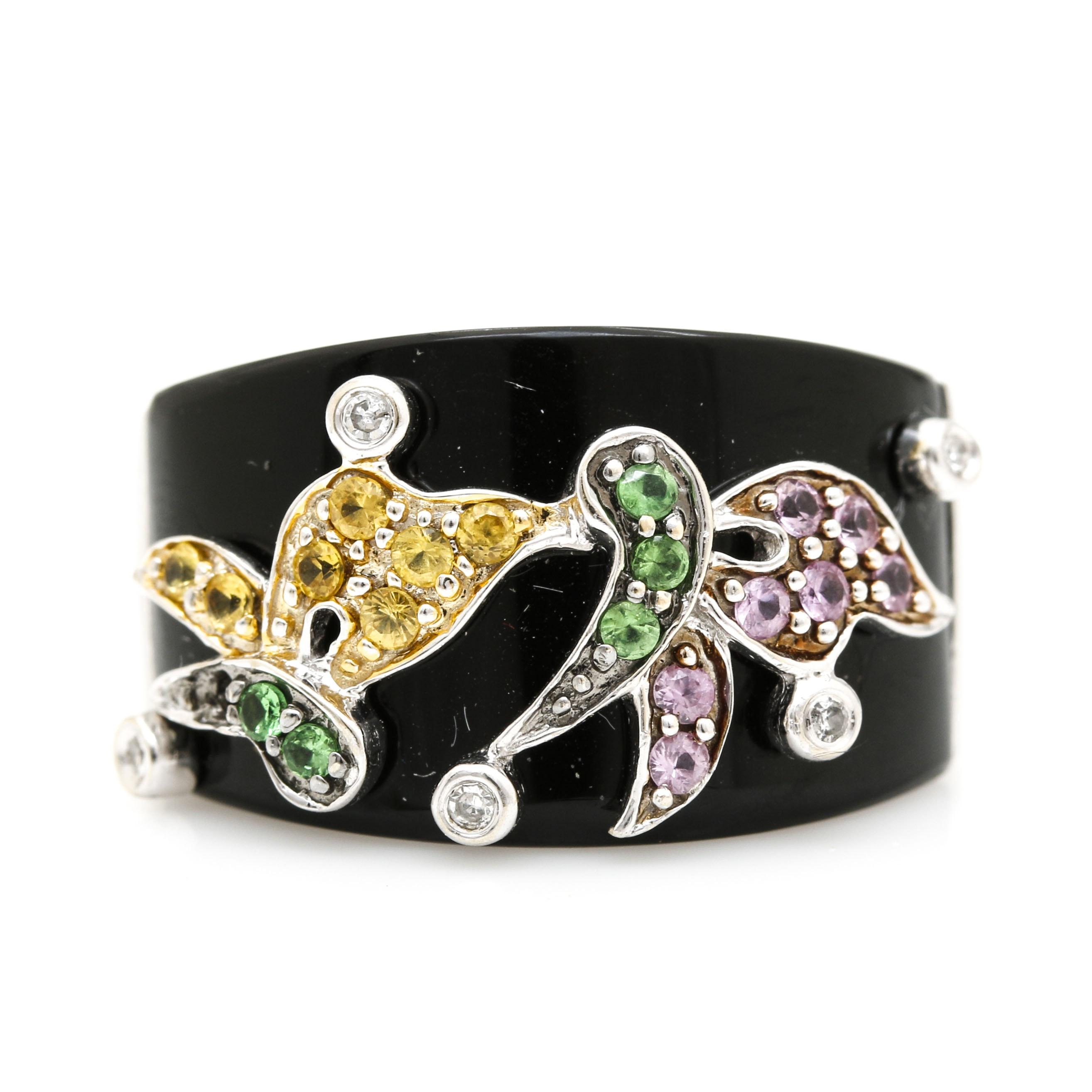 14K White Gold Gemstone Floral Ring